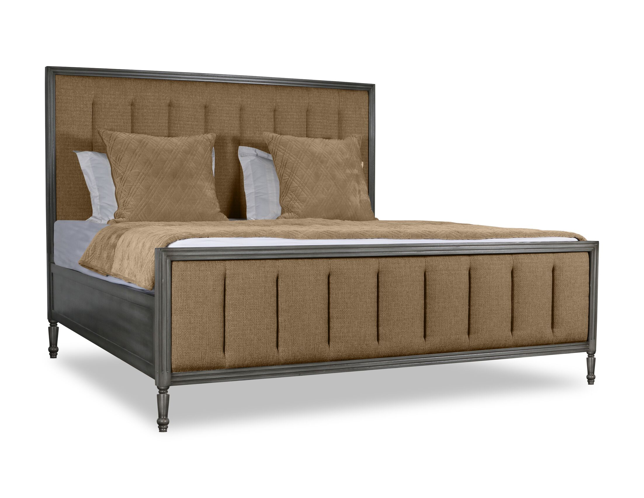 Faisan Vertical Channel Tufting Upholstered Panel Bed Color: Brown, Size: King