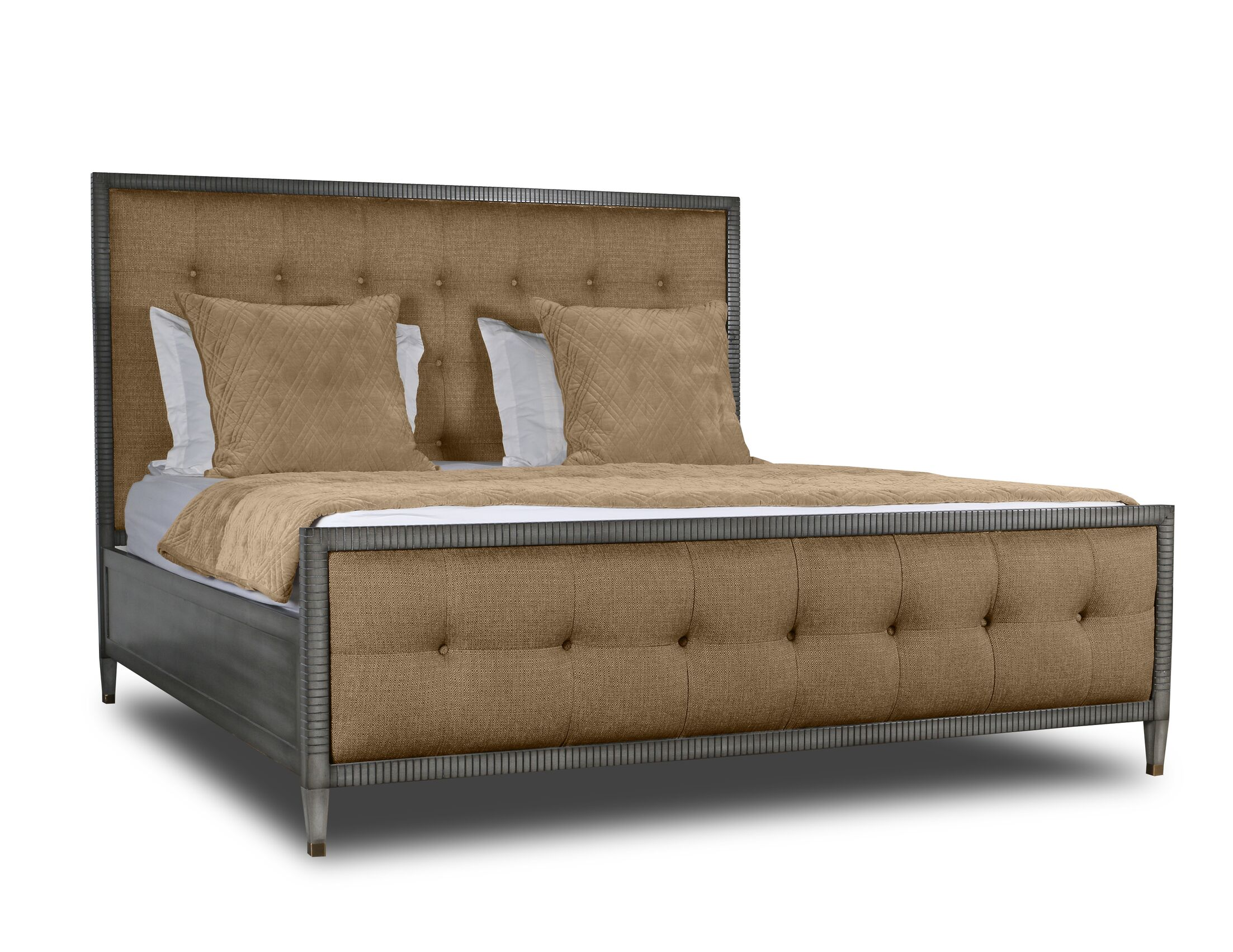 Korhonen Box Tufting Upholstered Panel Bed Color: Brown, Size: King