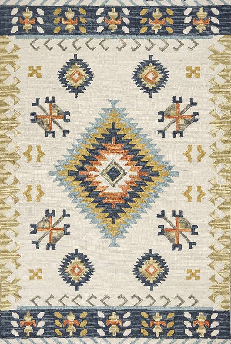 Crume Hand-Tufted Wool Ivory Area Rug Rug Size: Rectangle 5' x 7'6