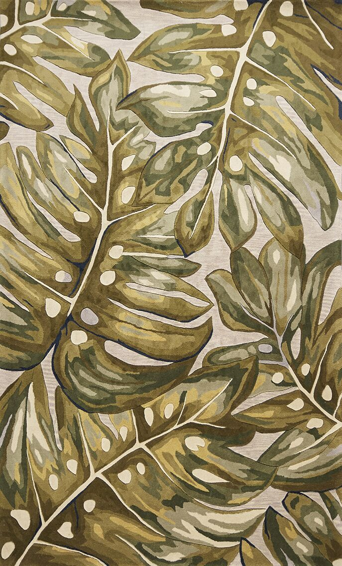 Springwater Palms Hand-Tufted Wool Green Area Rug Rug Size: Rectangle 7'9