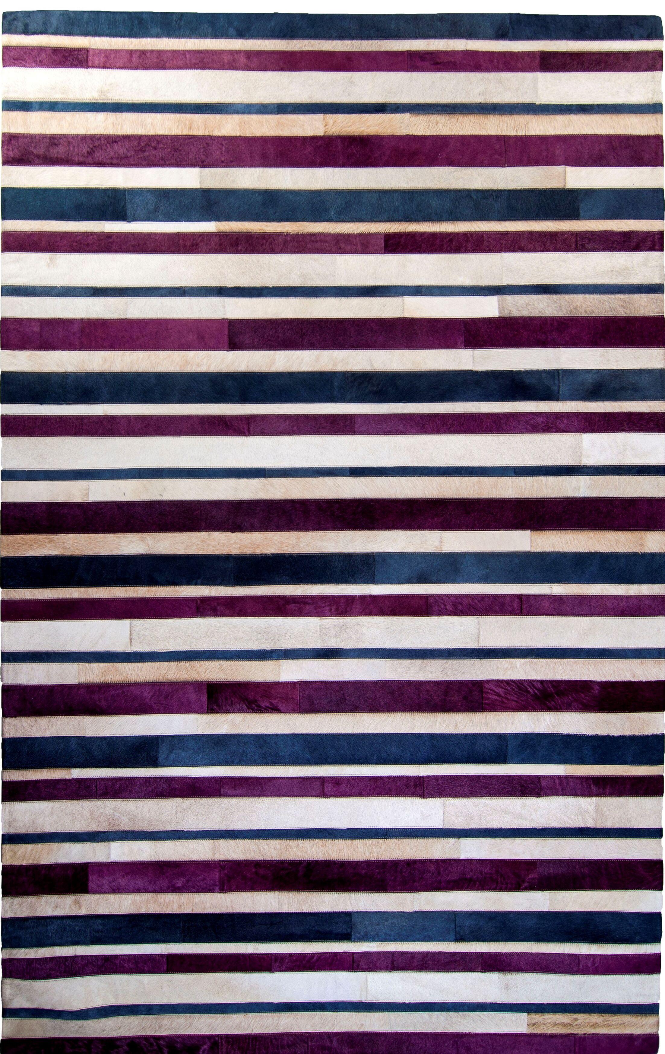 One-of-a-Kind Housman Hand-Woven Cowhide Purple/Blue Area Rug Rug Size: Rectangle 8' x 10'