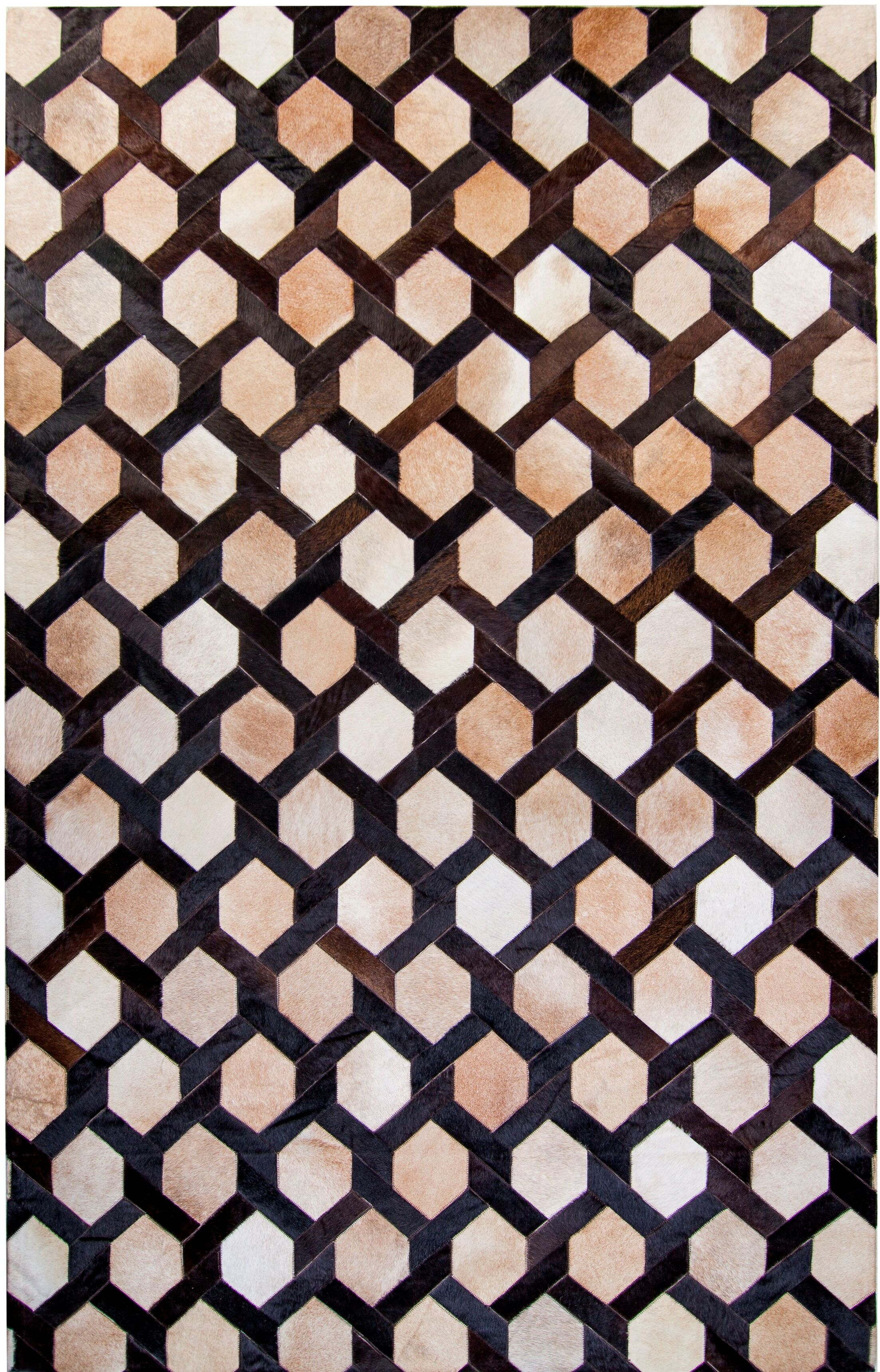 One-of-a-Kind Houghton Hand-Woven Cowhide Brown/Beige Area Rug Rug Size: Rectangle 5' x 8'