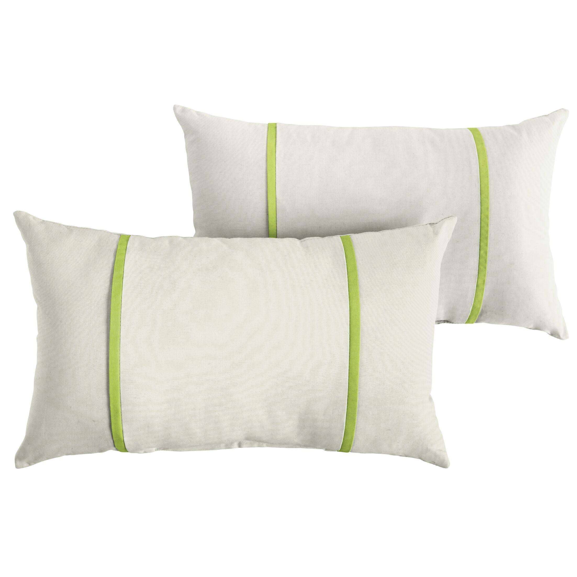 Churchton Indoor/Outdoor Sunbrella Lumbar Pillow Color: White/Macaw