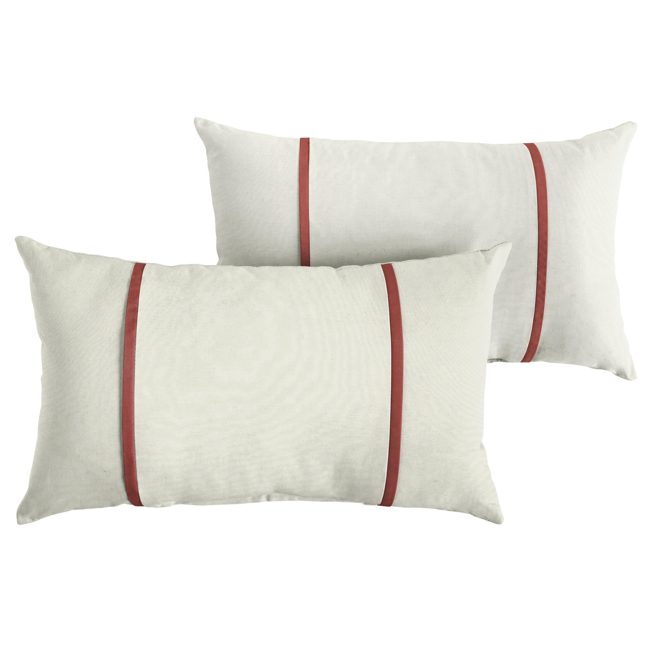 Churchton Indoor/Outdoor Sunbrella Lumbar Pillow Color: White/Henna