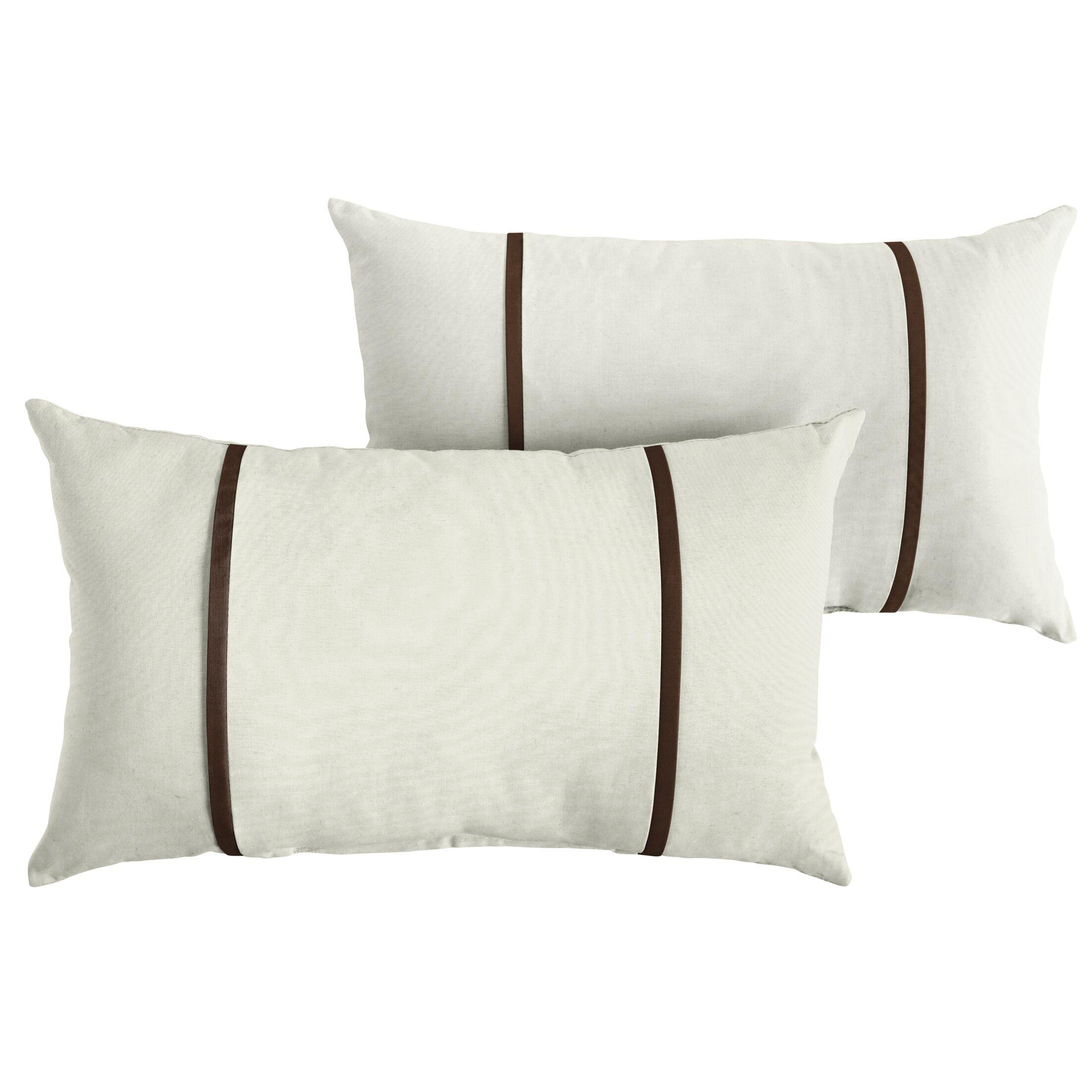 Churchton Indoor/Outdoor Sunbrella Lumbar Pillow Color: White/Brown