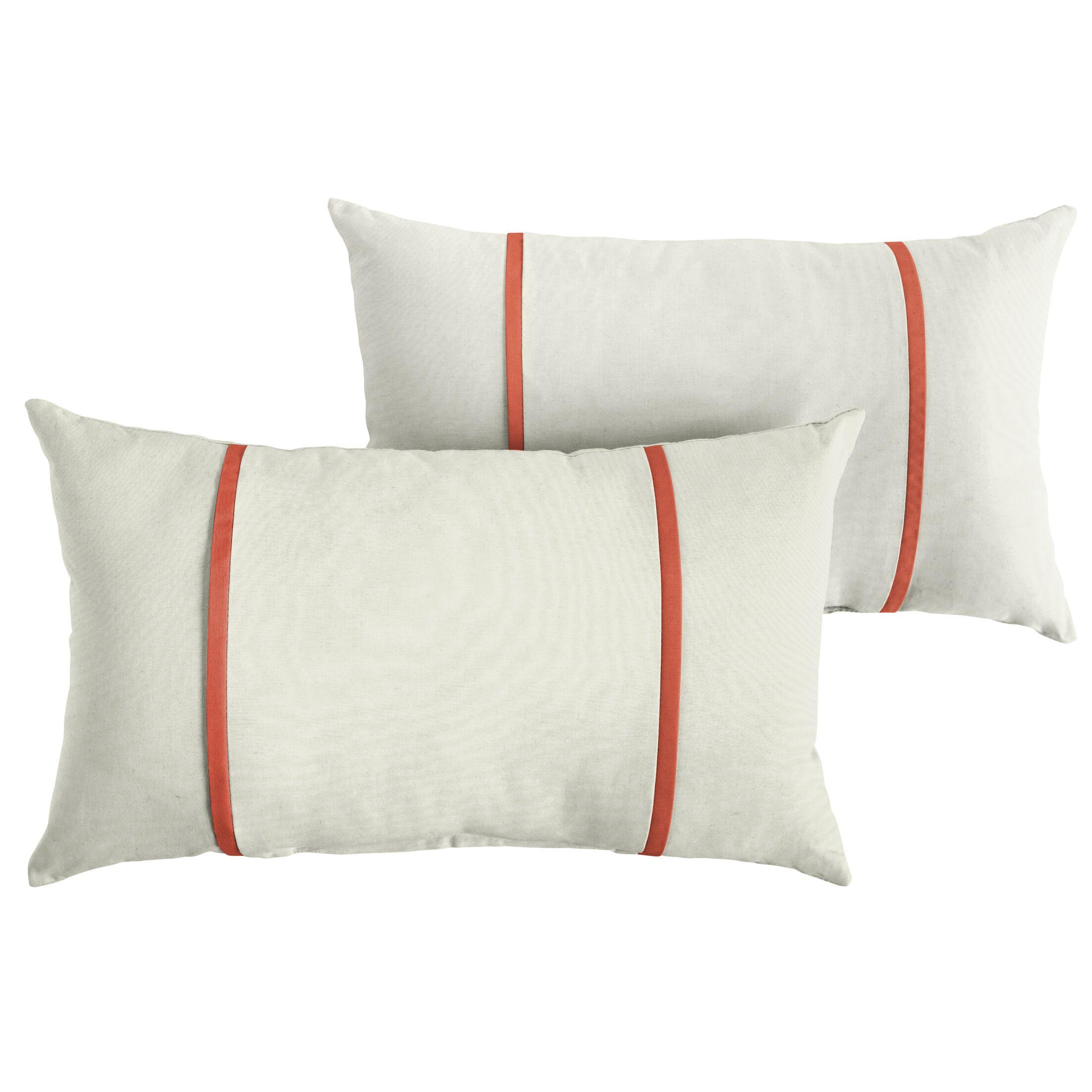 Churchton Indoor/Outdoor Sunbrella Lumbar Pillow Color: White/Melon