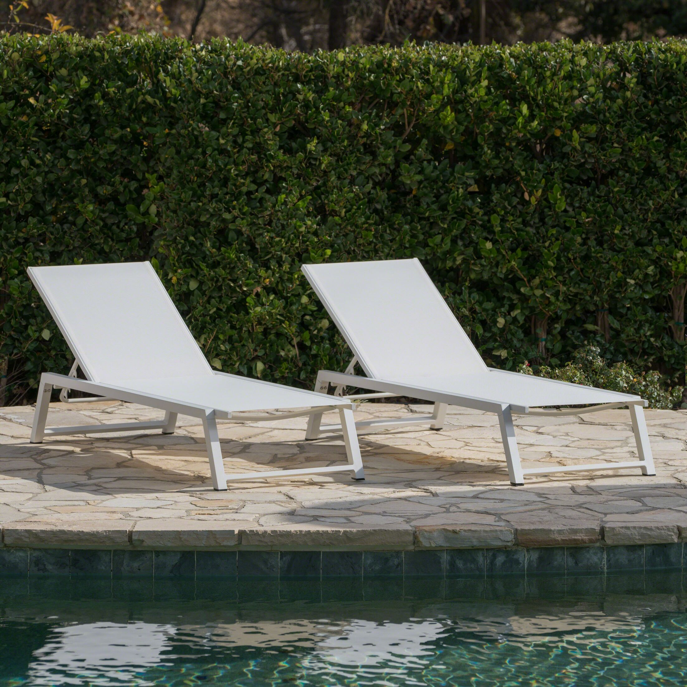 Moshier Outdoor Mesh Double Reclining Chaise Lounge Color: White