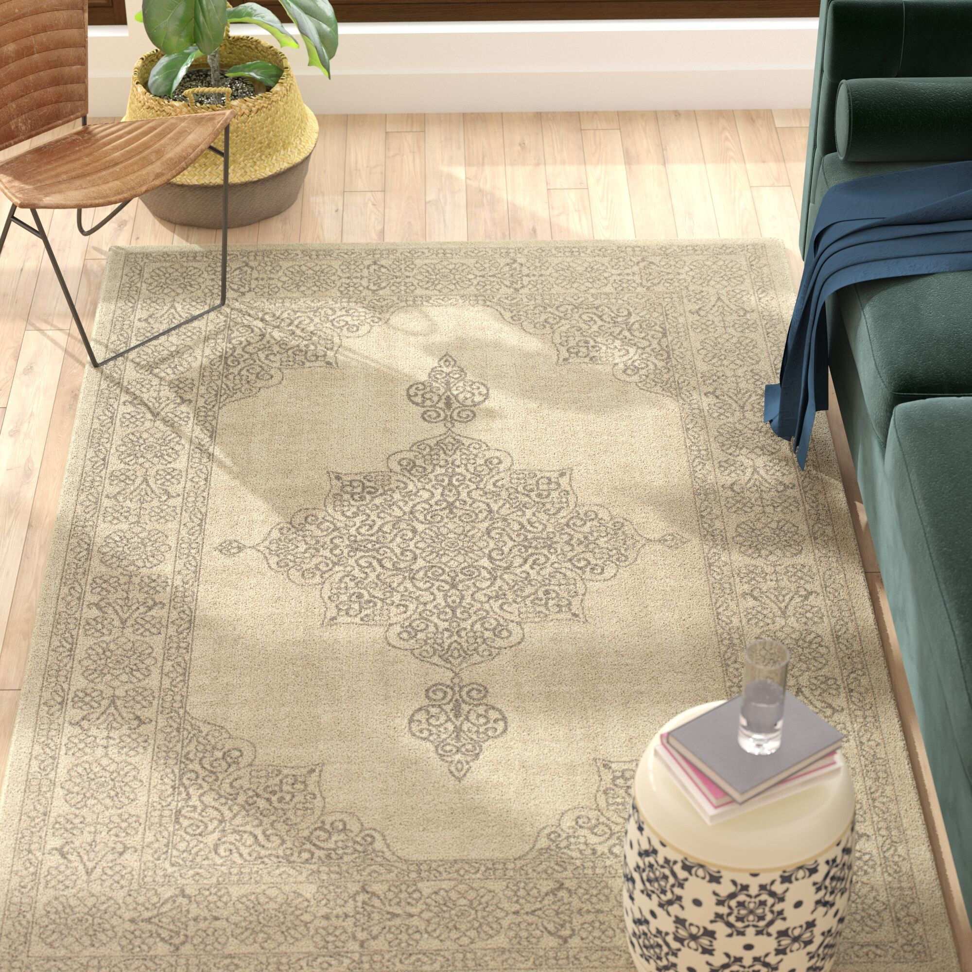 Holmes Flat Woven Wool Natural Area Rug Rug Size: Rectangle 7'10