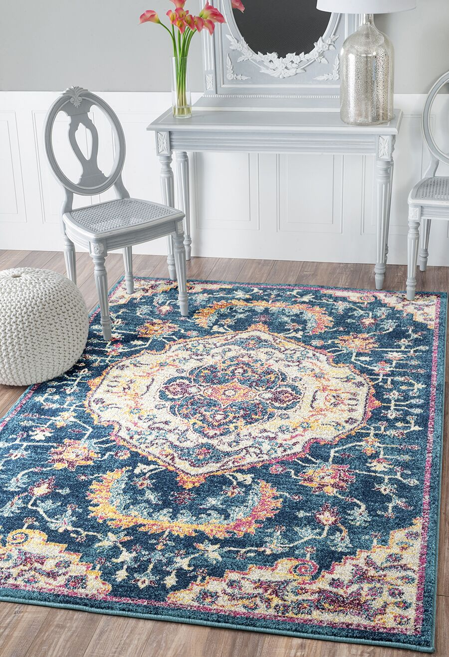 Diep Blue/Ivory Area Rug Rug Size: Rectangle 9'8