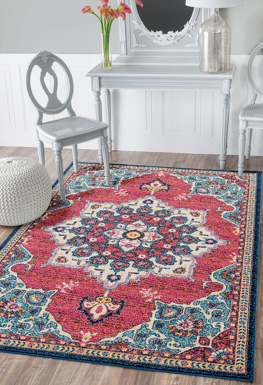 Dierks Blue/Red Area Rug Rug Size: Rectangle 12'6