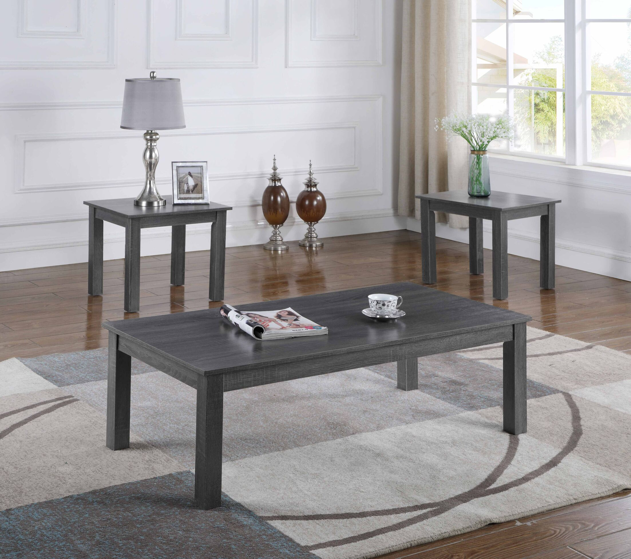 Mauzy 3 Piece Coffee Table Set Color: Dark Gray