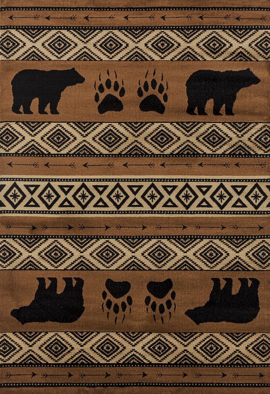 Pippen Bear Imprint Brown/Beige/Black Area Rug Rug Size: Rectangle 7'10