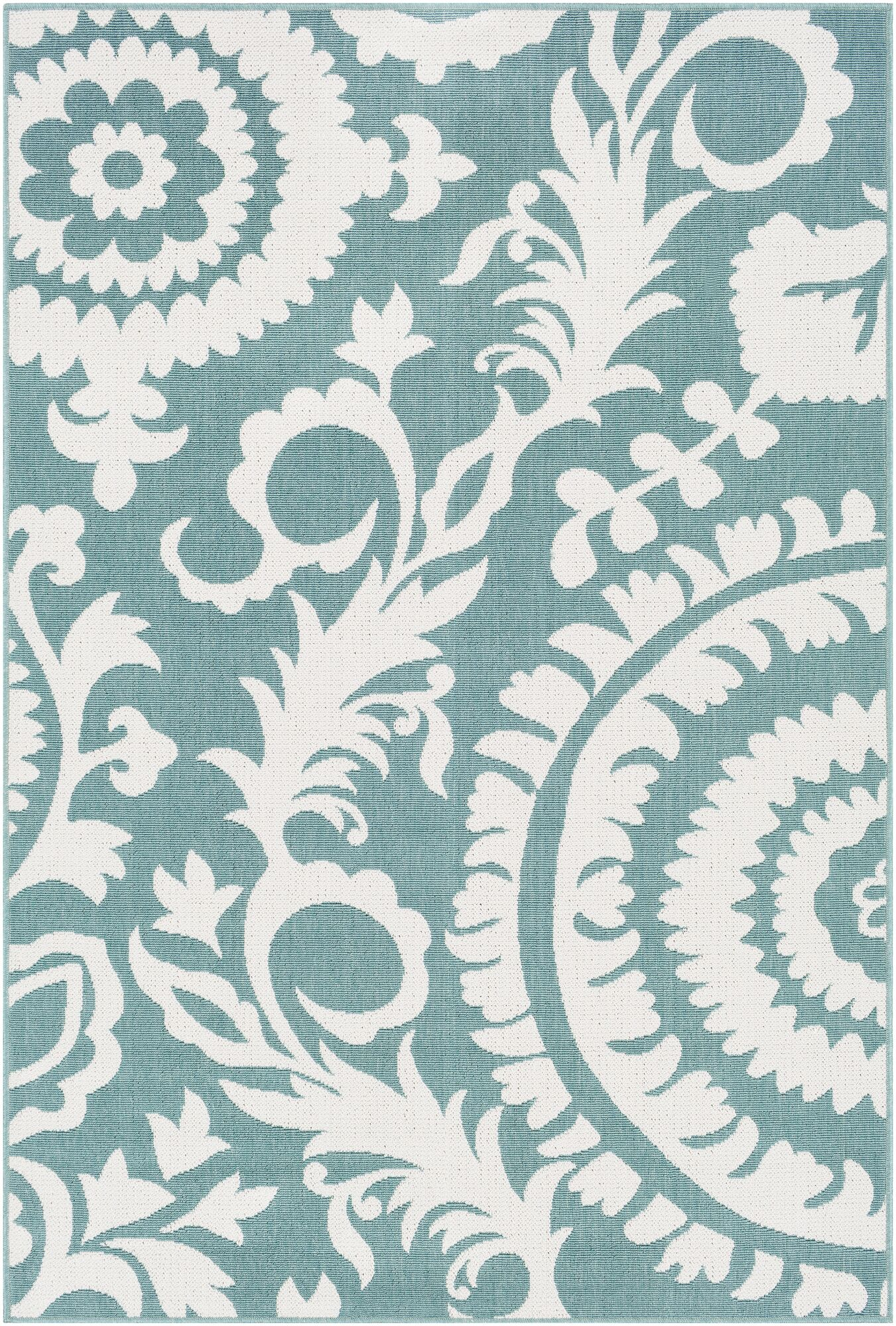 Floral Teal Indoor/Outdoor Area Rug Rug Size: Rectangle 5'3