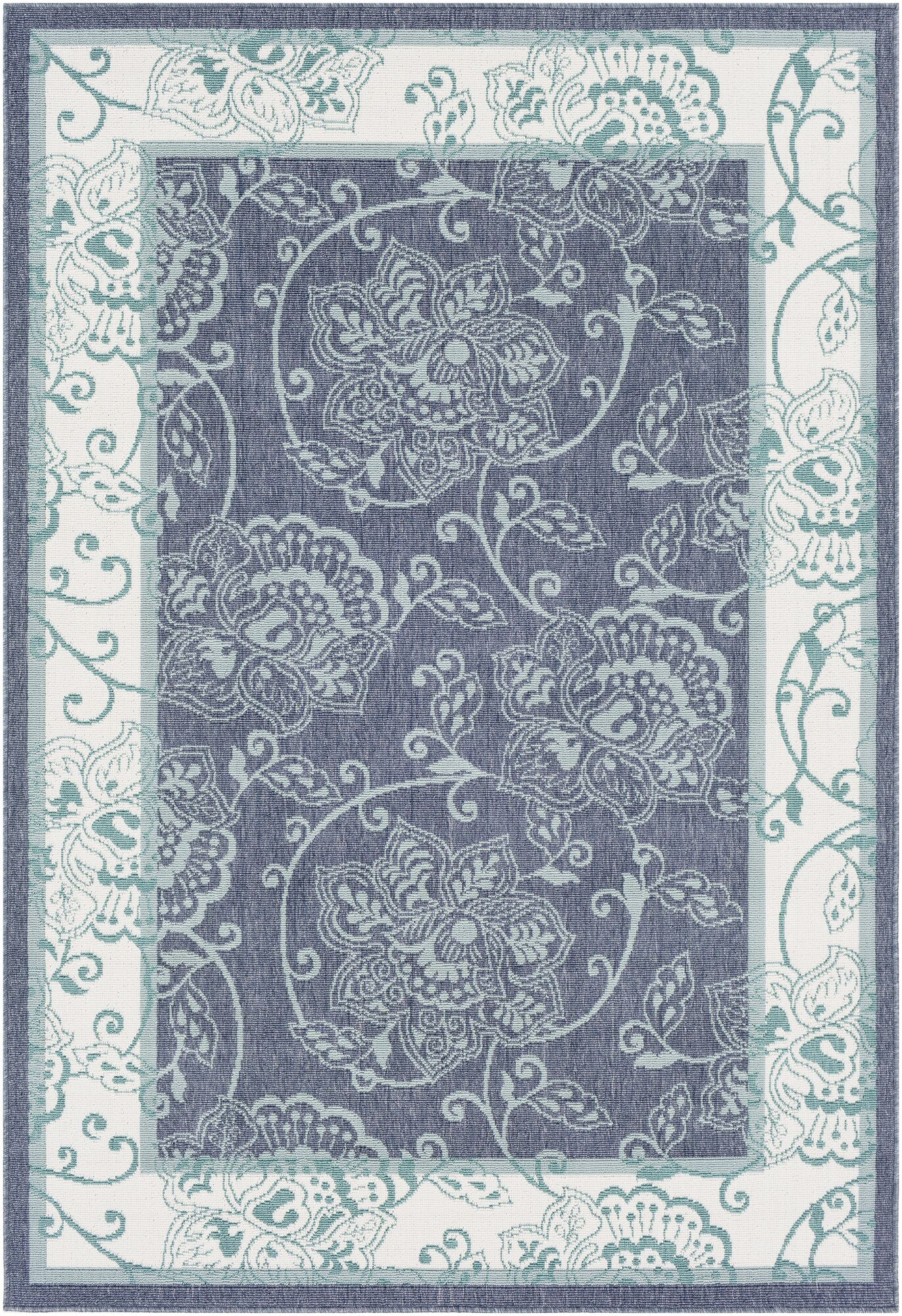 Pearce Floral Charcoal/Aqua Indoor/Outdoor Area Rug Rug Size: Rectangle 5'3