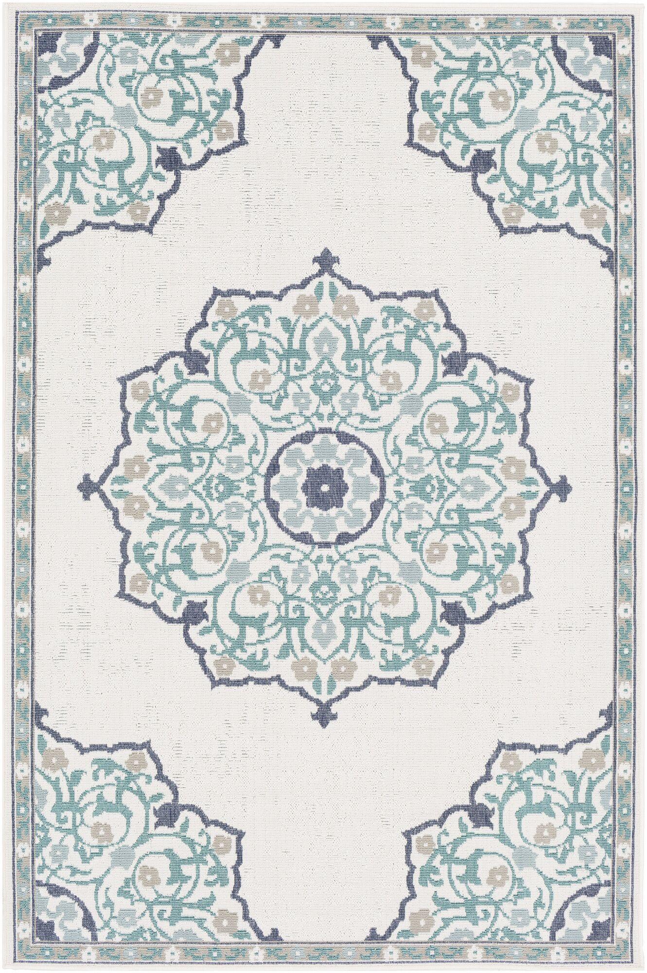 Dutcher Floral Teal/Ivory Indoor/Outdoor Area Rug Rug Size: Rectangle 6' x 9'