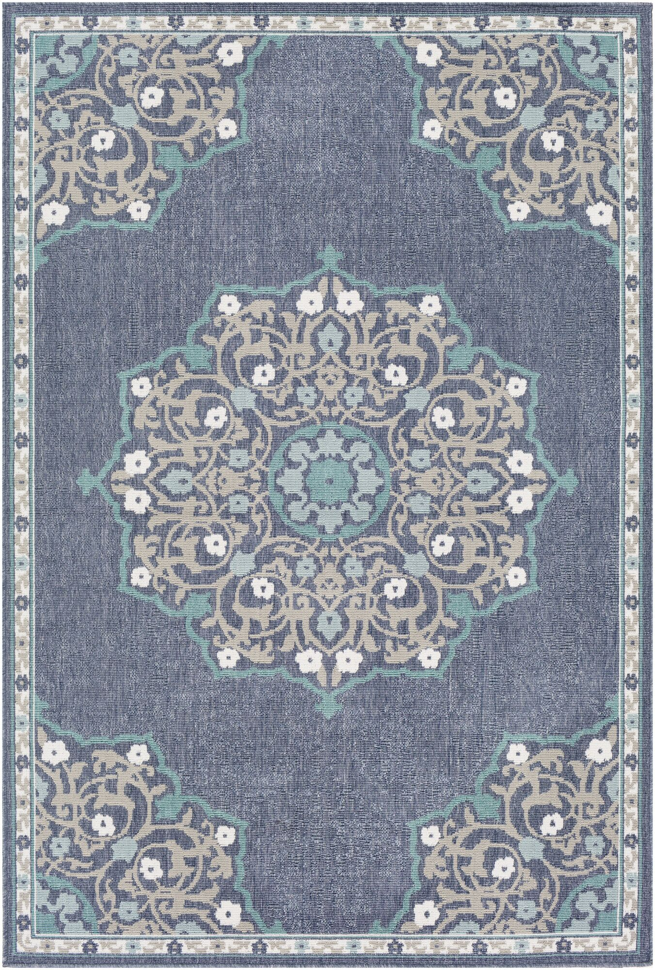 Dutcher Floral Charcoal/Taupe Indoor/Outdoor Area Rug Rug Size: Rectangle 6' x 9'