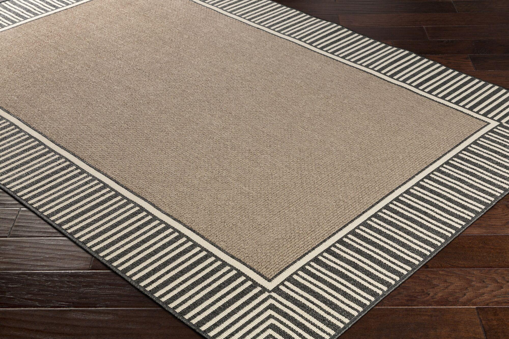 Oliver Camel/Black Indoor/Outdoor Area Rug Rug Size: Rectangle 7'6