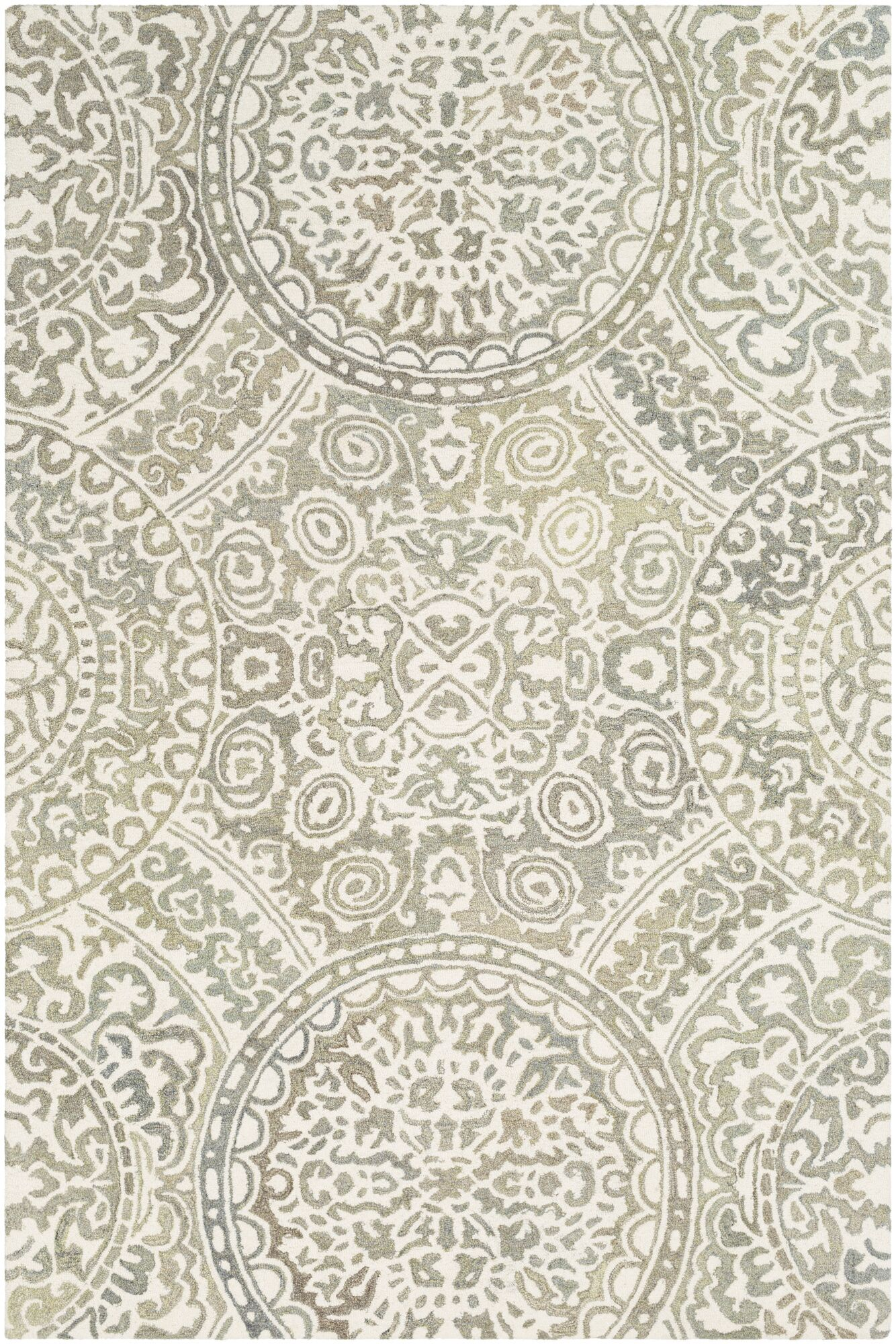 Eady Hand Hooked Wool Taupe/Cream Area Rug Rug Size: Rectangle 8' x 10'