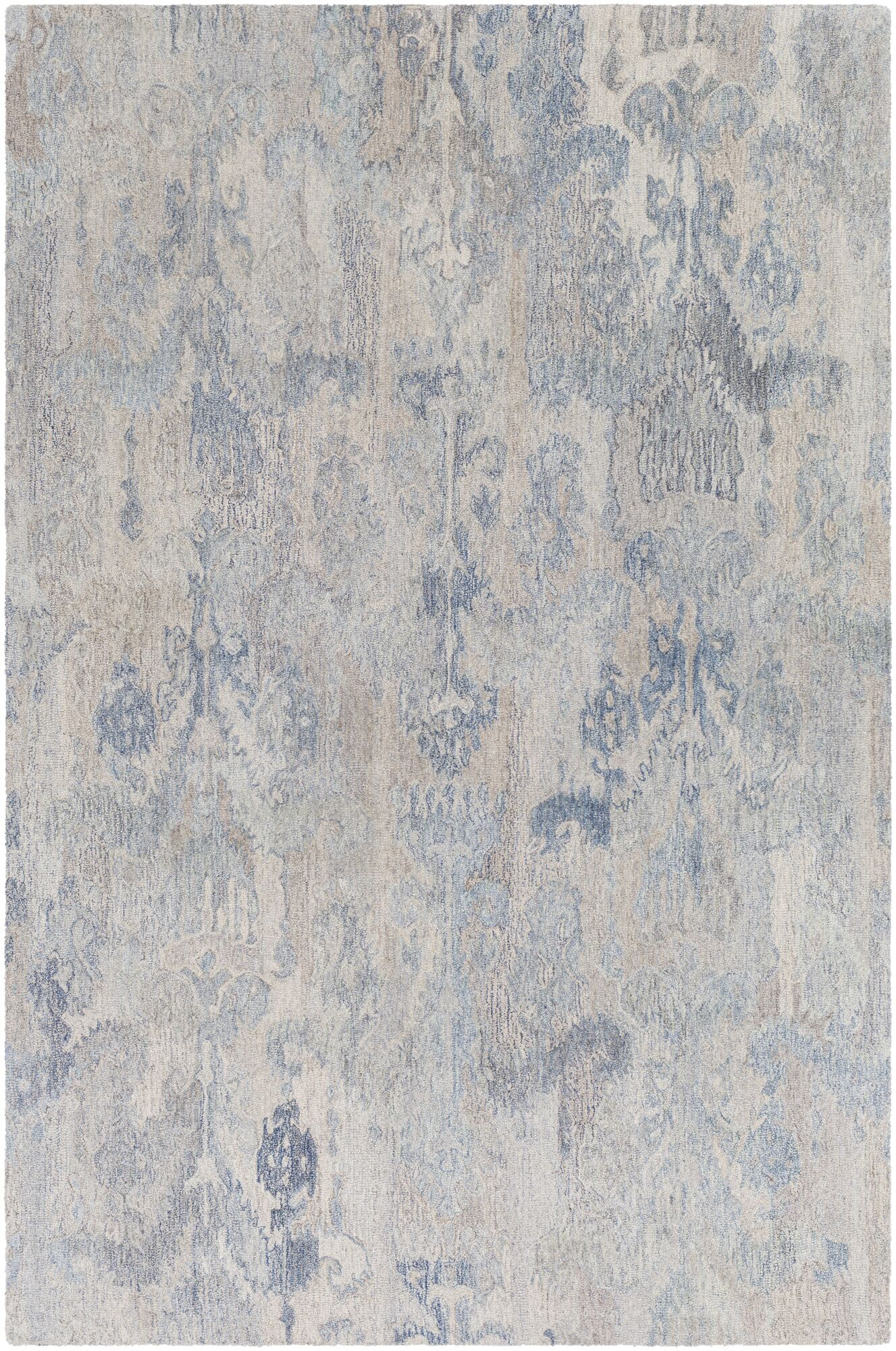 Eady Hand Hooked Wool Dark Blue/Ice Blue Area Rug Rug Size: Rectangle 8' x 10'
