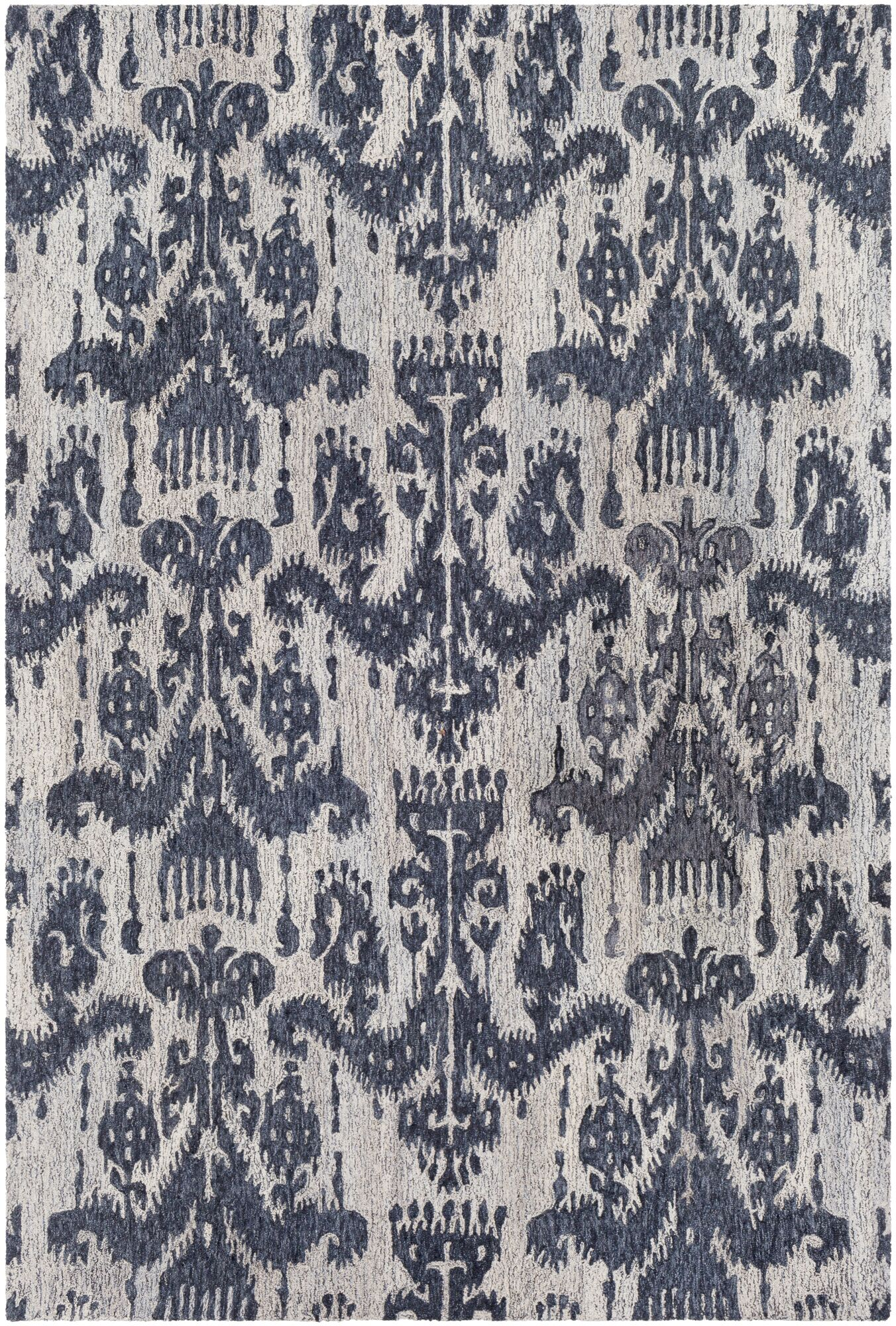 Eady Hand Hooked Wool Blue/Navy Area Rug Rug Size: Rectangle 8' x 10'