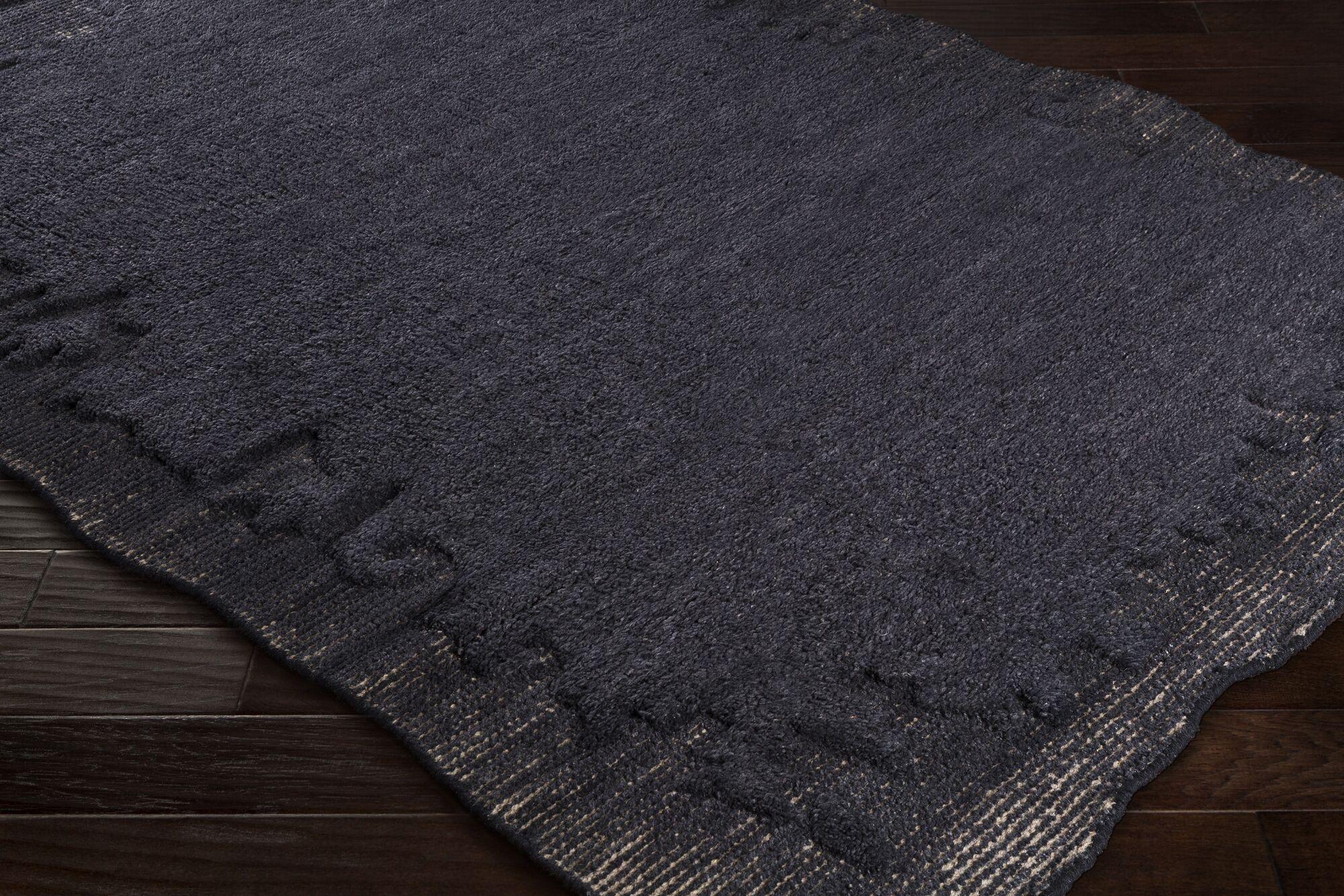 Celinda Hand-Woven Wool Black/Gray Area Rug Rug Size: Rectangle 2' x 3'