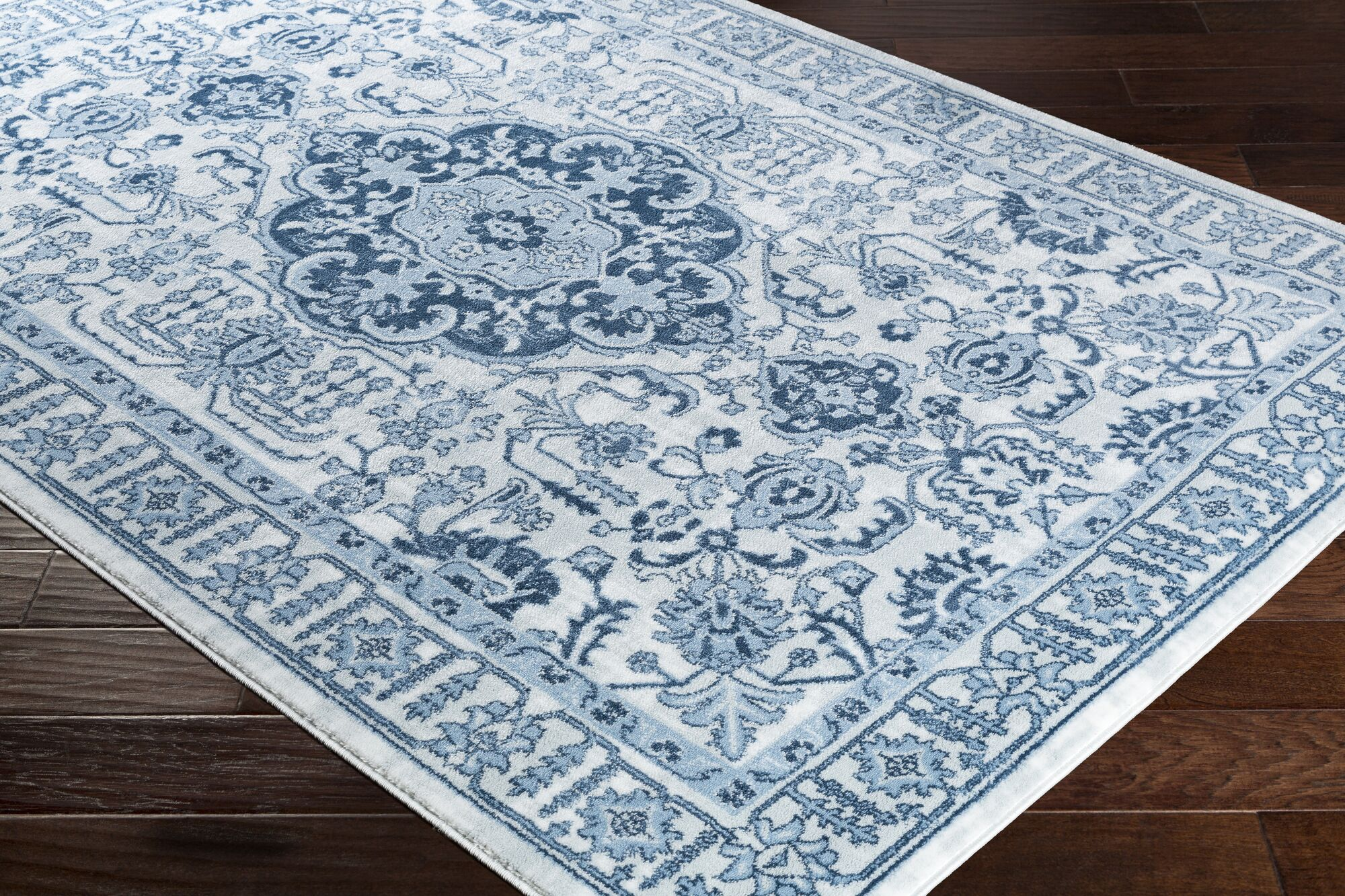 Dutil Floral Denim/Navy Area Rug Rug Size: Rectangle 7'8