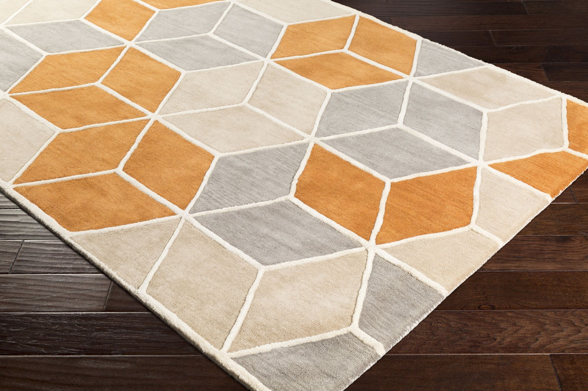 Vaughan Hand-Tufted Wool Burnt Orange/Khaki Area Rug Rug Size: Rectangle 8' x 11'