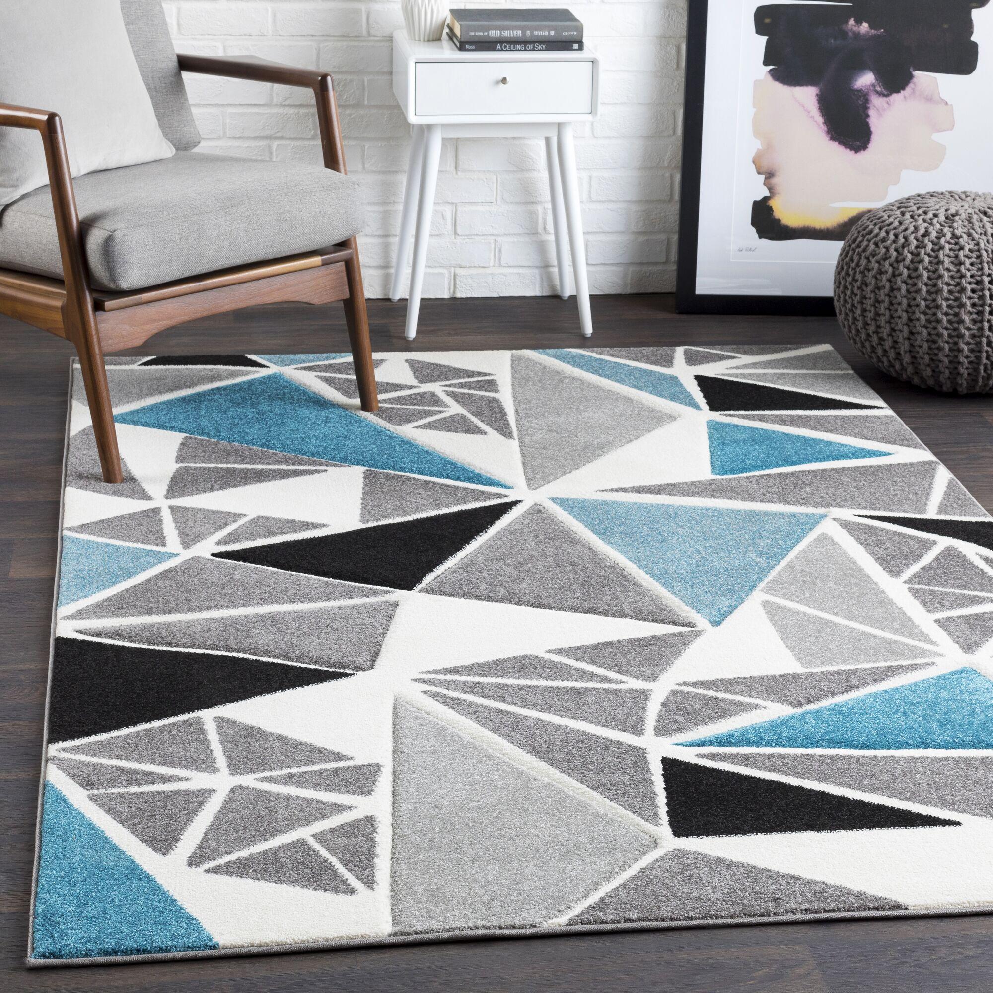 Mott Street Geometric Teal/Gray Area Rug Rug Size: Rectangle 5'3