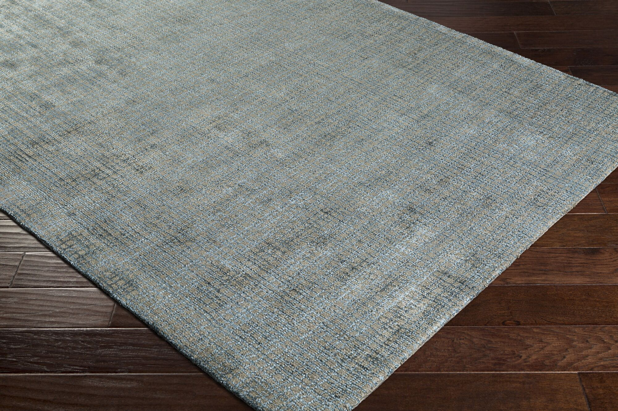 Dili Hand-Woven Silk Teal/Brown Area Rug Rug Size: Rectangle 8' x 10'