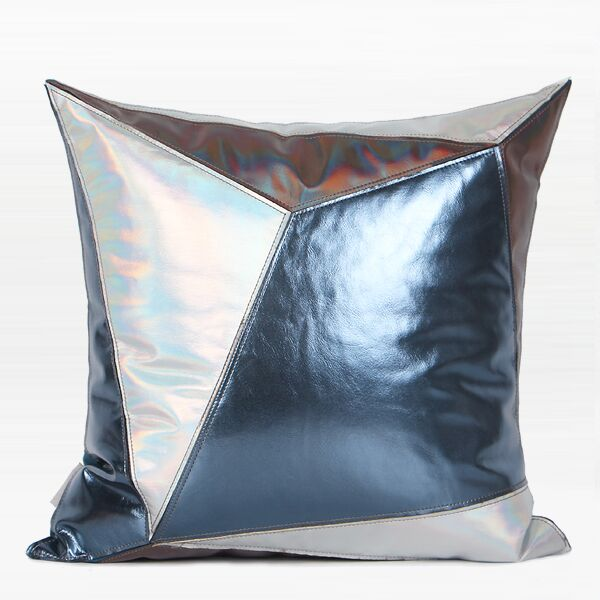 Cade Three Color Faux Leather Pillow Color: Blue/Silver, Fill Material: Down Feather, Product Type: Throw Pillow