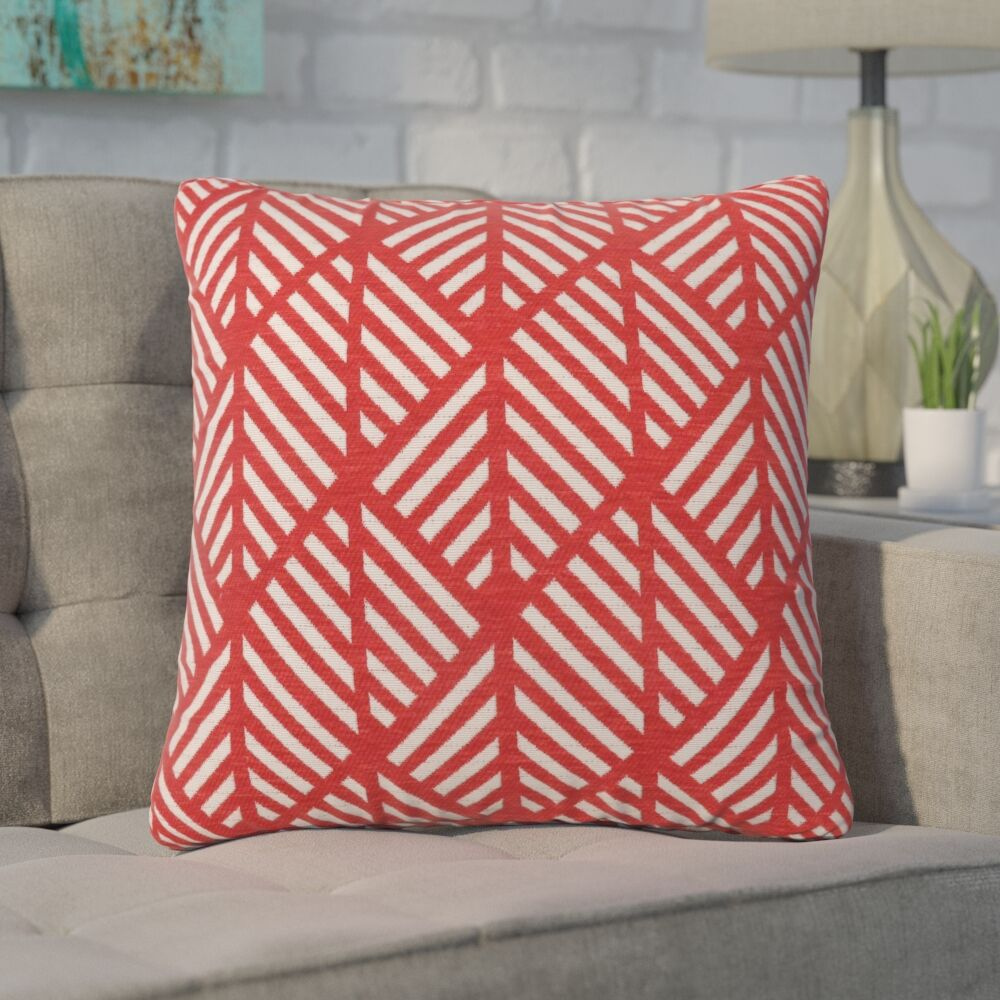 Jase Geometric Design Square Throw Pillow Color: Red