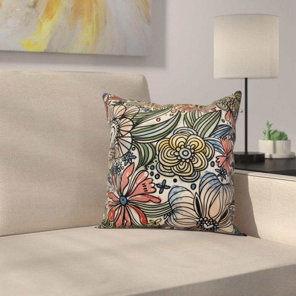 Natahsa Zentangle Floral Outdoor Throw Pillow Size: 20