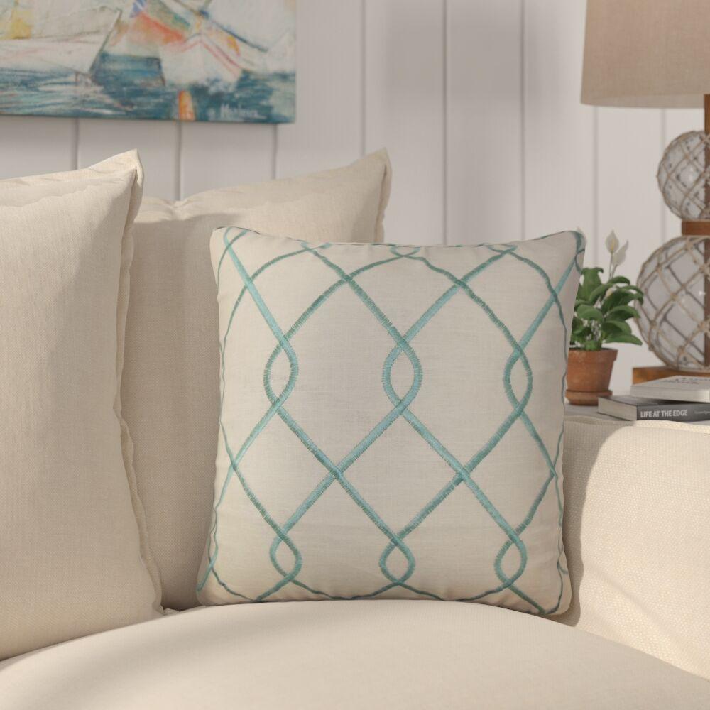 Larchwood Geometric Throw Pillow Color: Aqua Blue