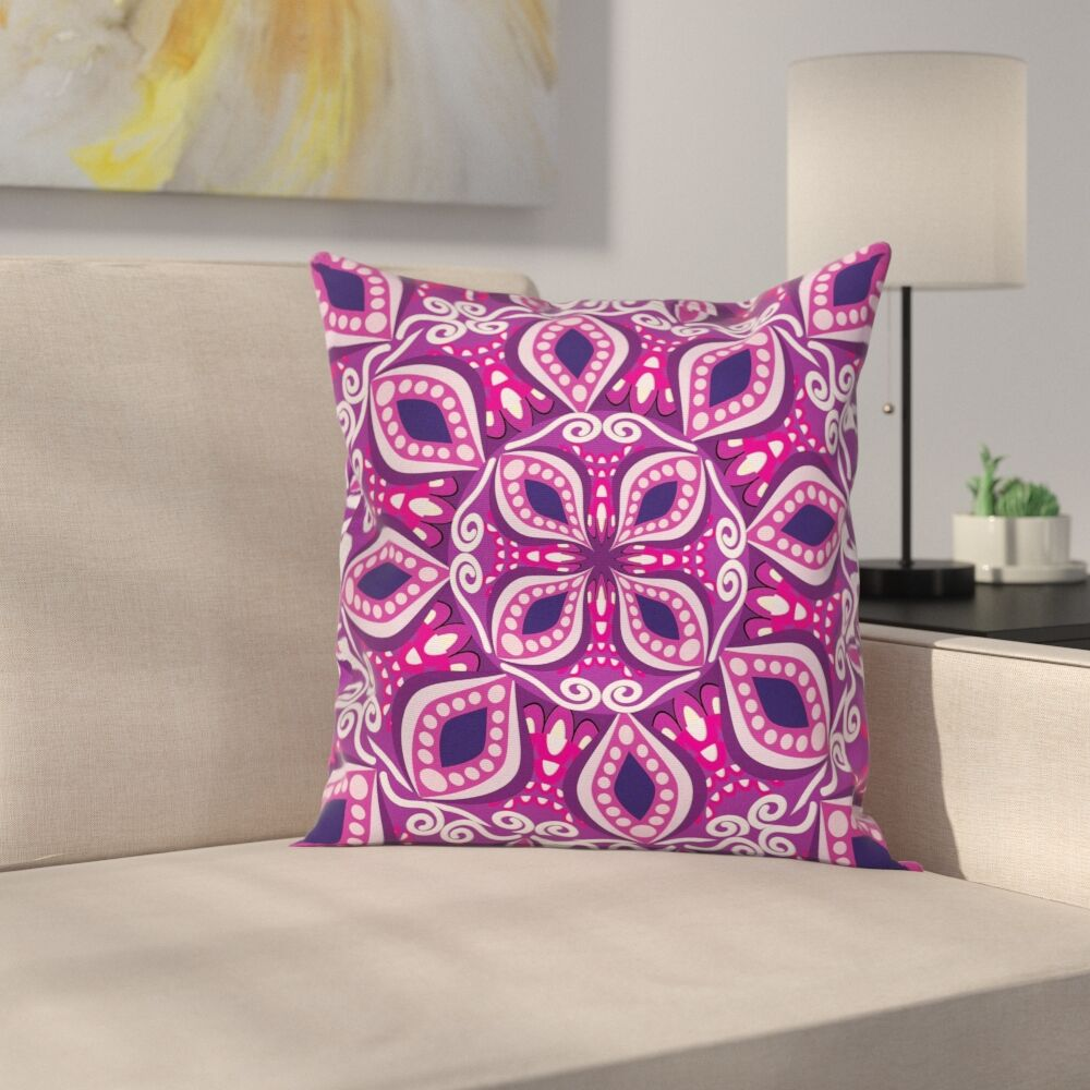 Lace Trippy Flowers Leaf Cushion Pillow Cover Size: 20