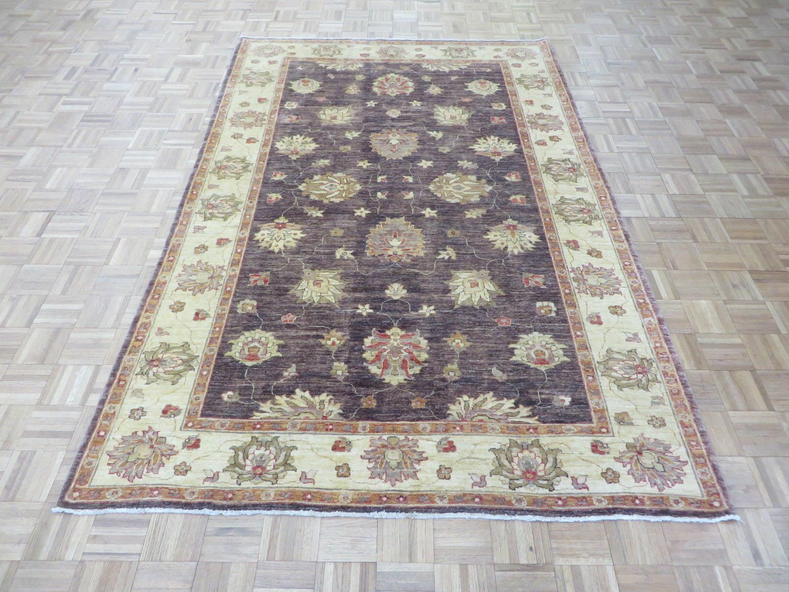One-of-a-Kind Railsback Oushak Hand-Knotted Wool Eggplant Area Rug