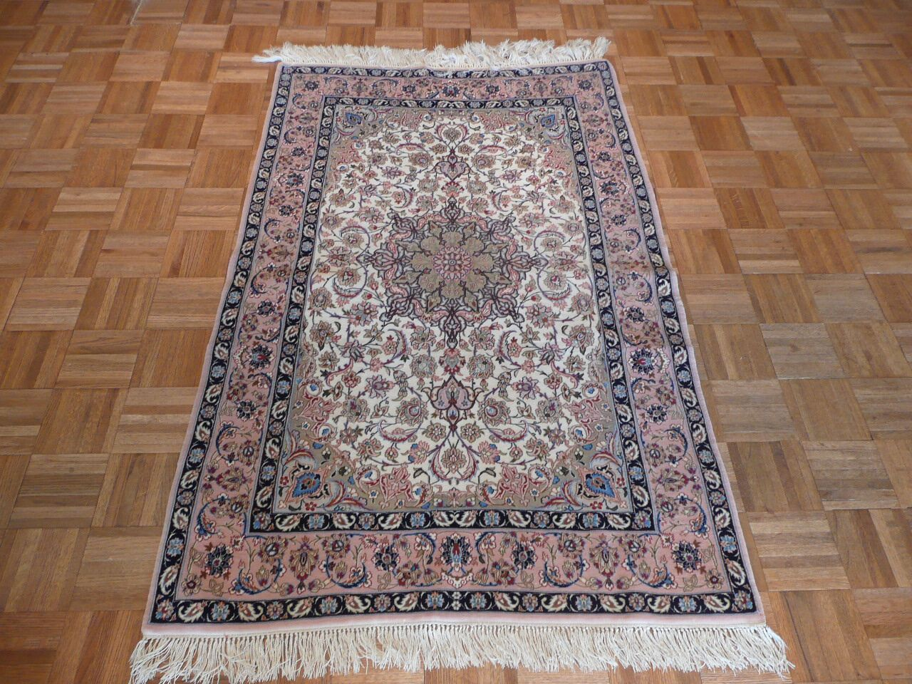 One-of-a-Kind Raines Hand-Knotted Wool Ivory Area Rug Rug Size: Rectangle 3'5