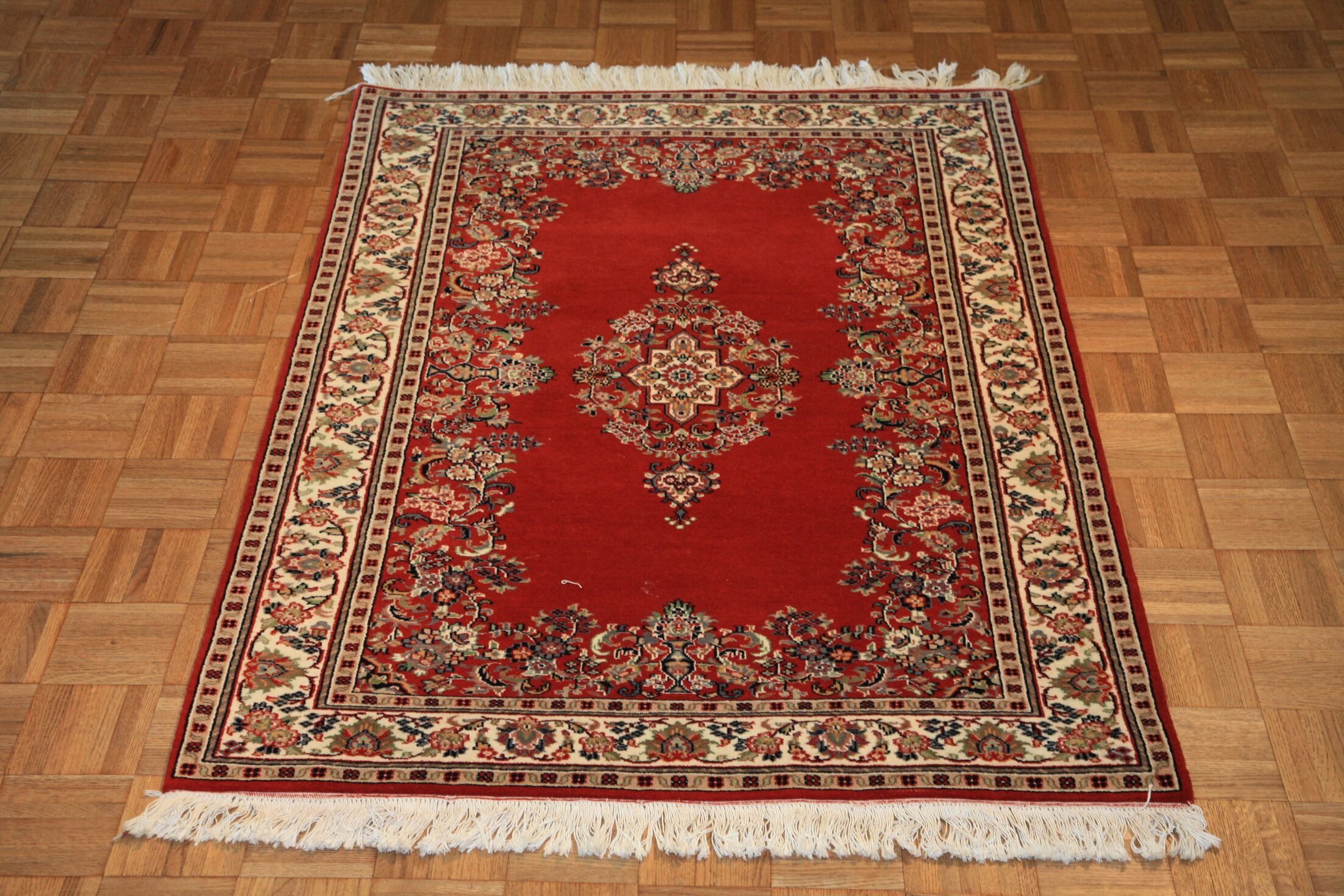 One-of-a-Kind Pellegrino Sarouk Hand-Knotted Wool Red Area Rug