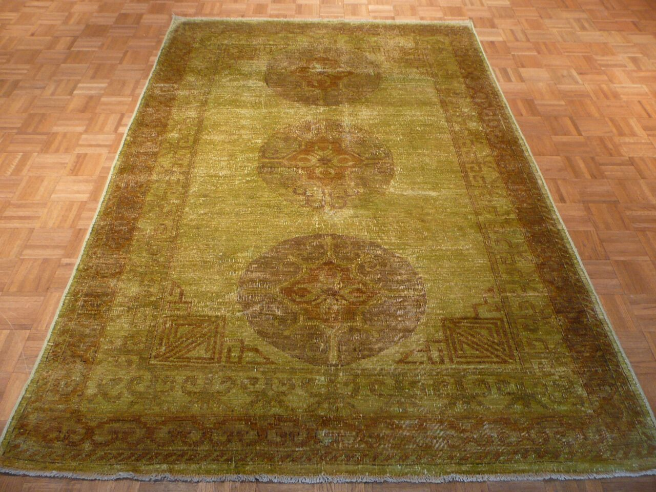 One-of-a-Kind Railsback Khotan Hand-Knotted Wool Light Green Area Rug