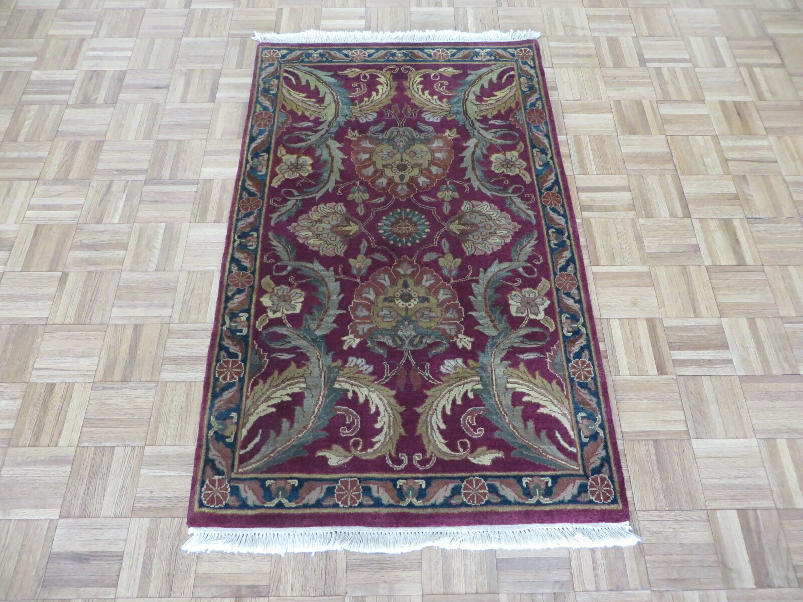 One-of-a-Kind Sherika Hand-Knotted Wool Burgundy Area Rug