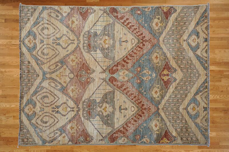 One-of-a-Kind Pellegrino Ikat Hand-Knotted Wool Ivory Area Rug