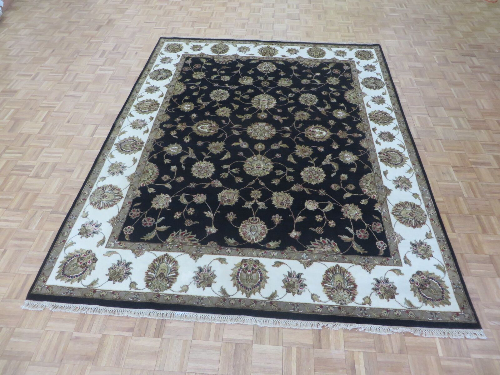 One-of-a-Kind Rhyne Hand-Knotted Wool Black Area Rug Rug Size: Rectangle 8' x 10'2