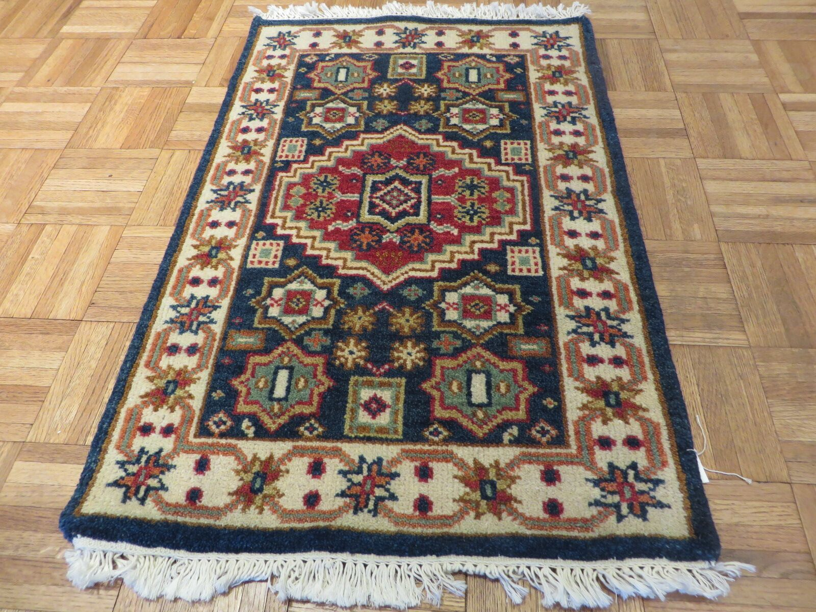 One-of-a-Kind Padula Tribal Super Hand-Knotted Wool Navy Blue Area Rug