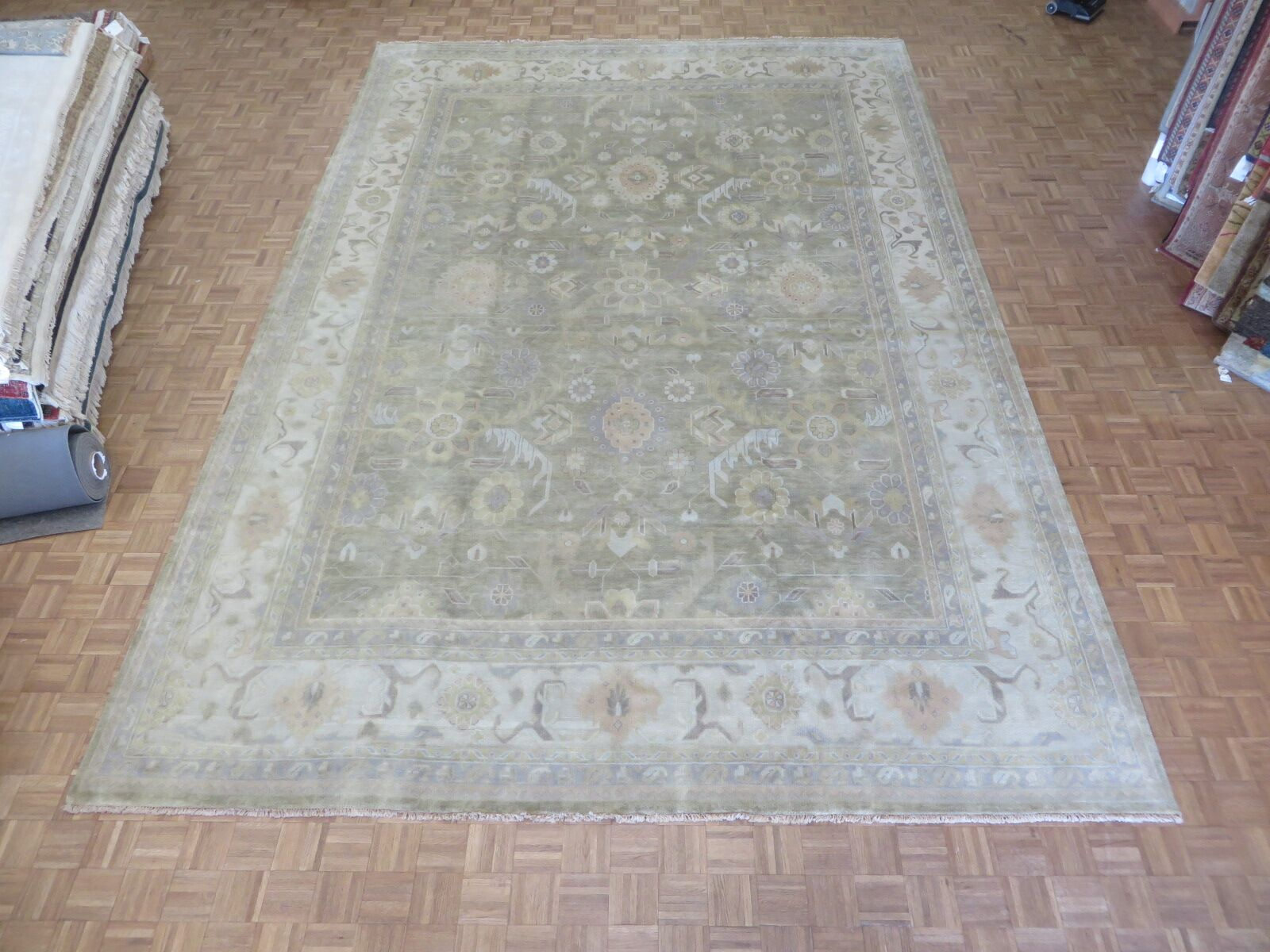 One-of-a-Kind Josephson Oushak Hand-Knotted Soft Green Area Rug