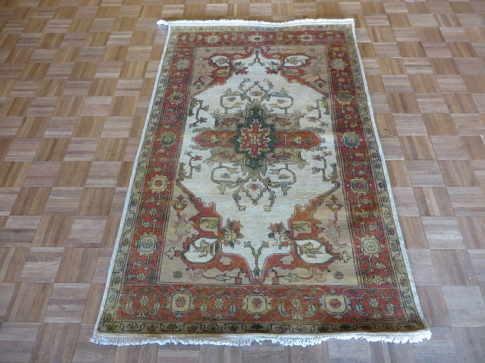 One-of-a-Kind Pellegrino Antiqued Serapi Heriz Hand-Knotted Silk Ivory Area Rug Rug Size: Rectangle 2' x 3'