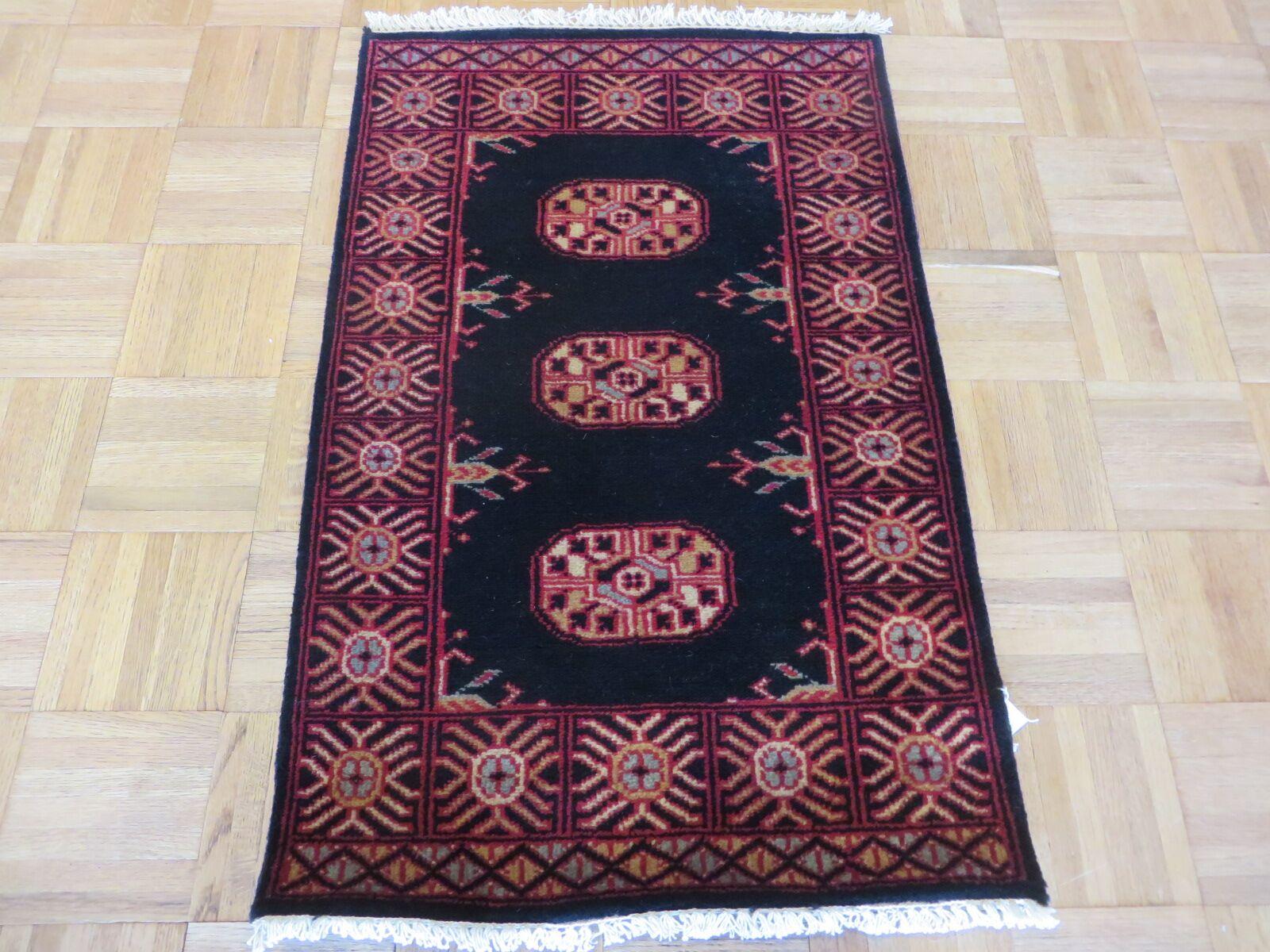 One-of-a-Kind Pellegrino Bokara Hand-Knotted Wool Black Area Rug Rug Size: Rectangle 1'11