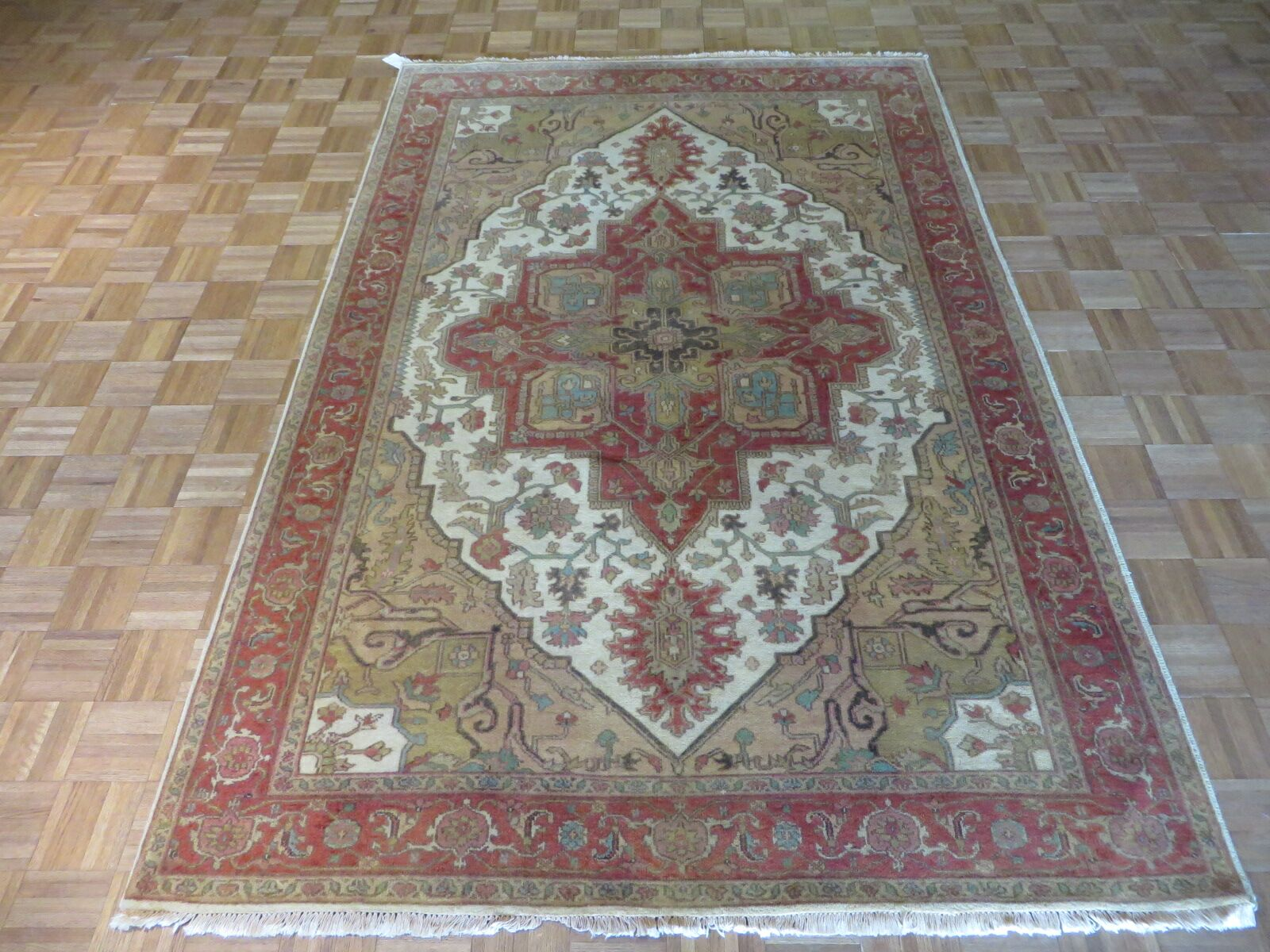 One-of-a-Kind Josephson Antiqued Serapi Heriz Hand-Knotted Wool Antique Ivory Area Rug Rug Size: Rectangle 6' x 9'