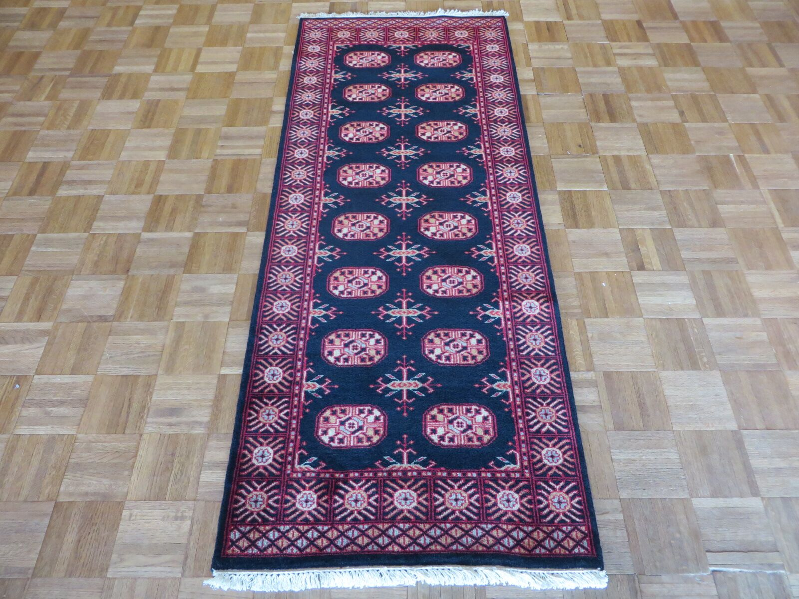 One-of-a-Kind Pellegrino Bokara Hand-Knotted Rayon from Bamboo Silk Black Area Rug