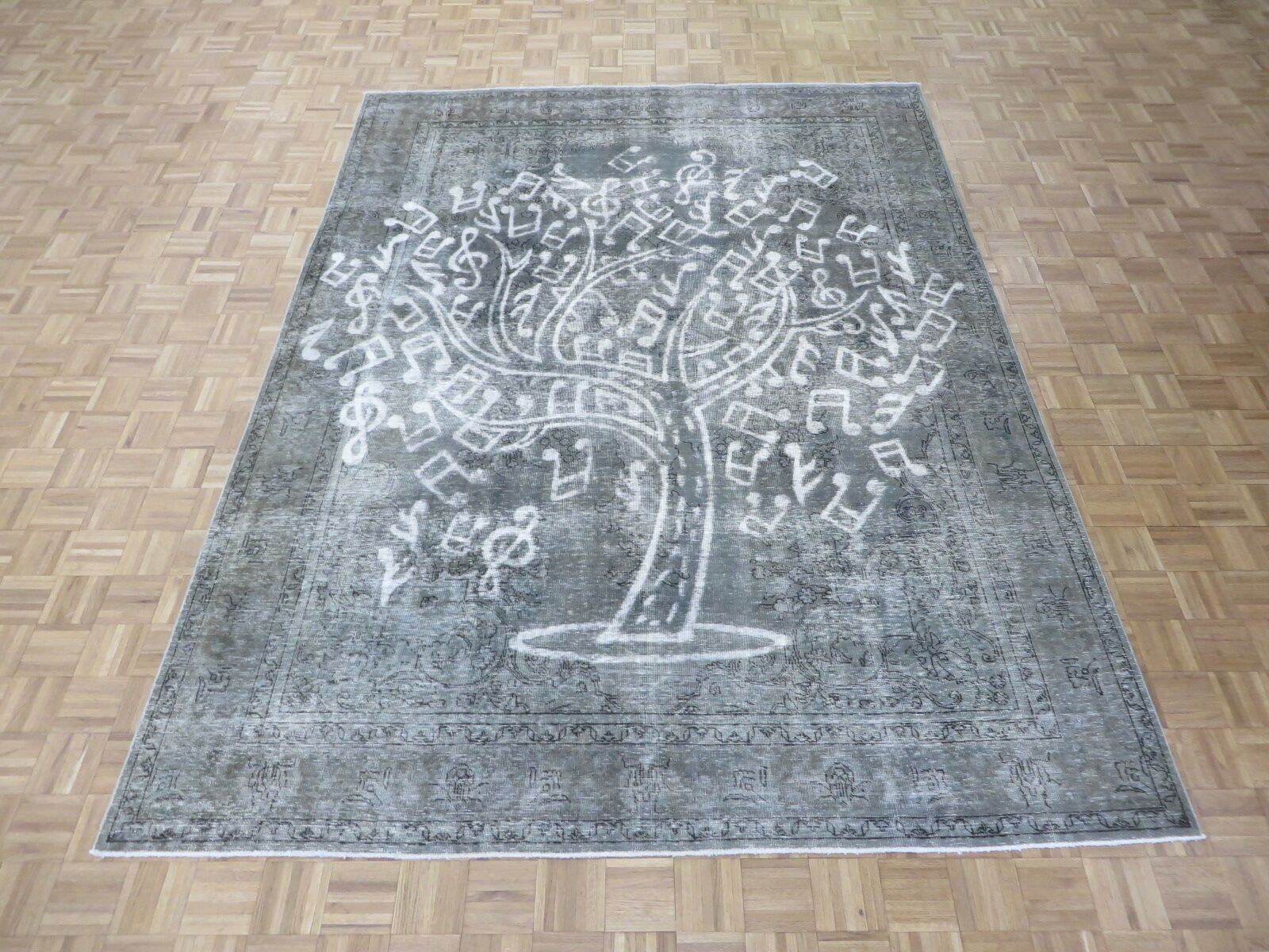 One-of-a-Kind Padro Music Tree Hand-Knotted Wool Gray Area Rug