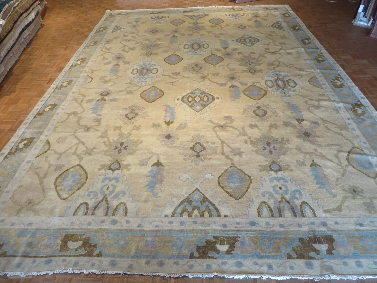 One-of-a-Kind Josephson Turkish Oushak Hand-Knotted Wool Beige Area Rug Rug Size: Rectangle 9' x 12'