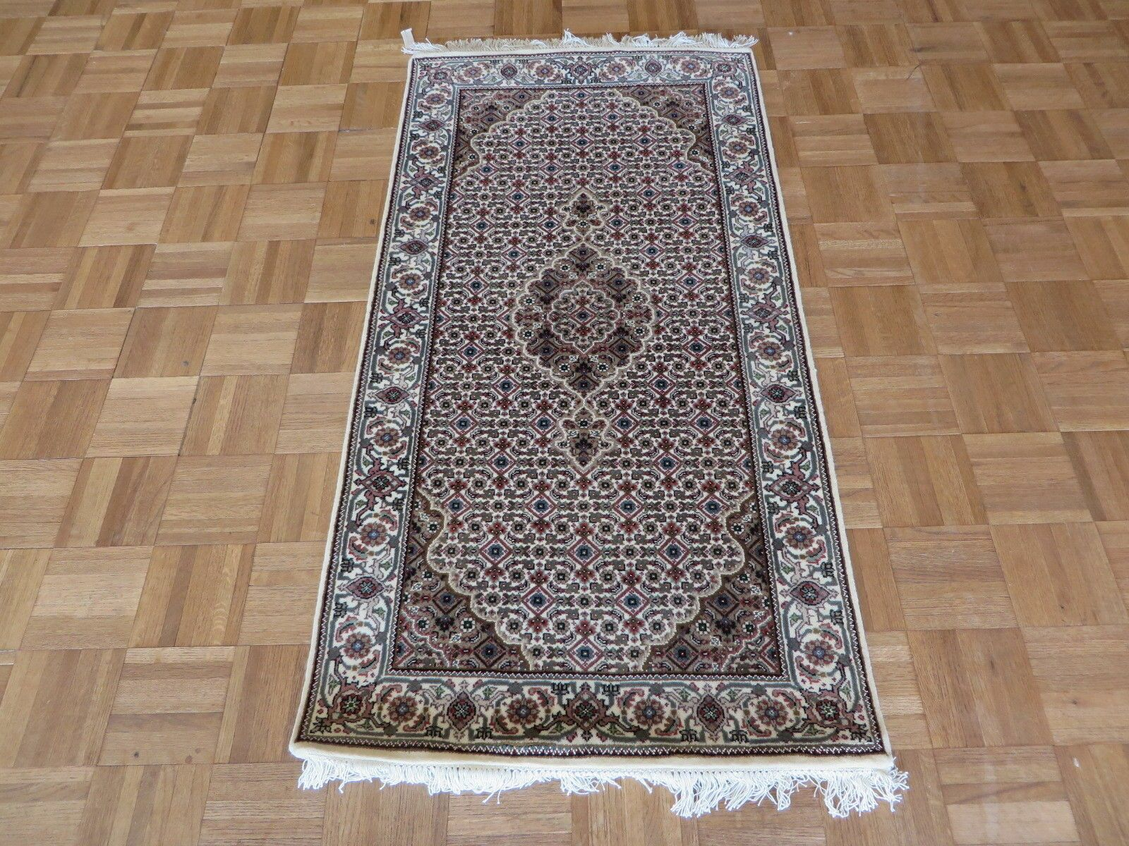 One-of-a-Kind Raiden Hand-Knotted Wool Ivory Area Rug Rug Size: Rectangle 2'6